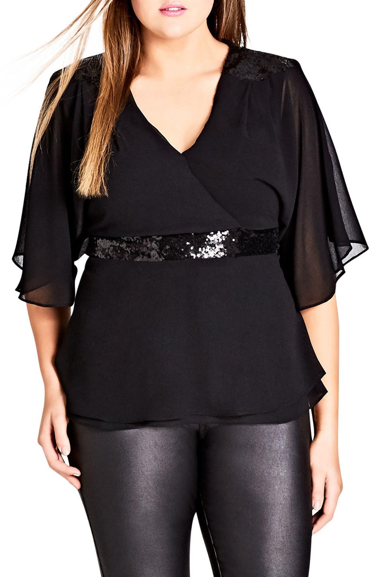 Sequin Wrap Top,                         Main,                         color, Black