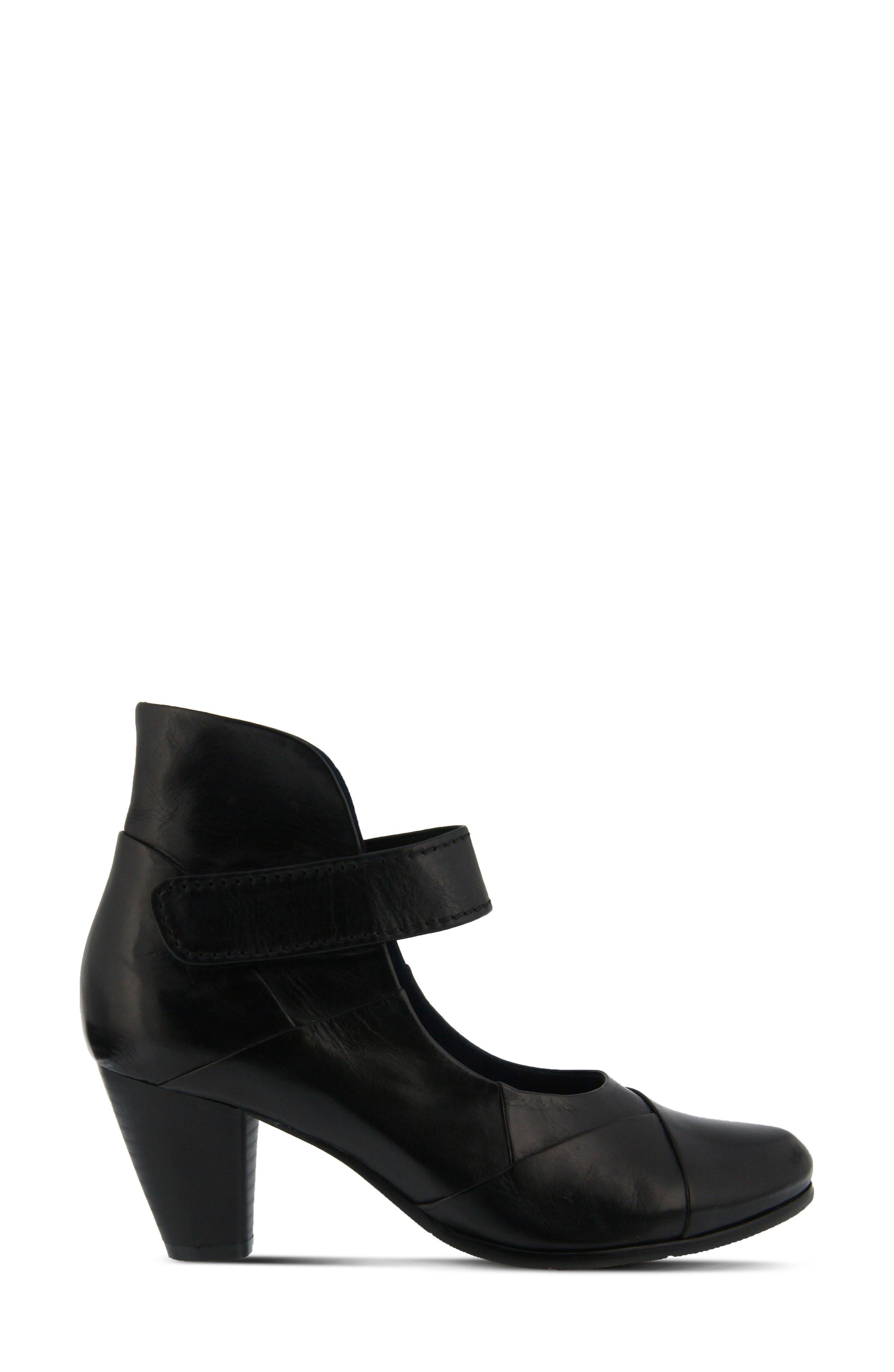 Chapeco Patchwork Ankle Strap Pump,                             Alternate thumbnail 3, color,                             Black Leather