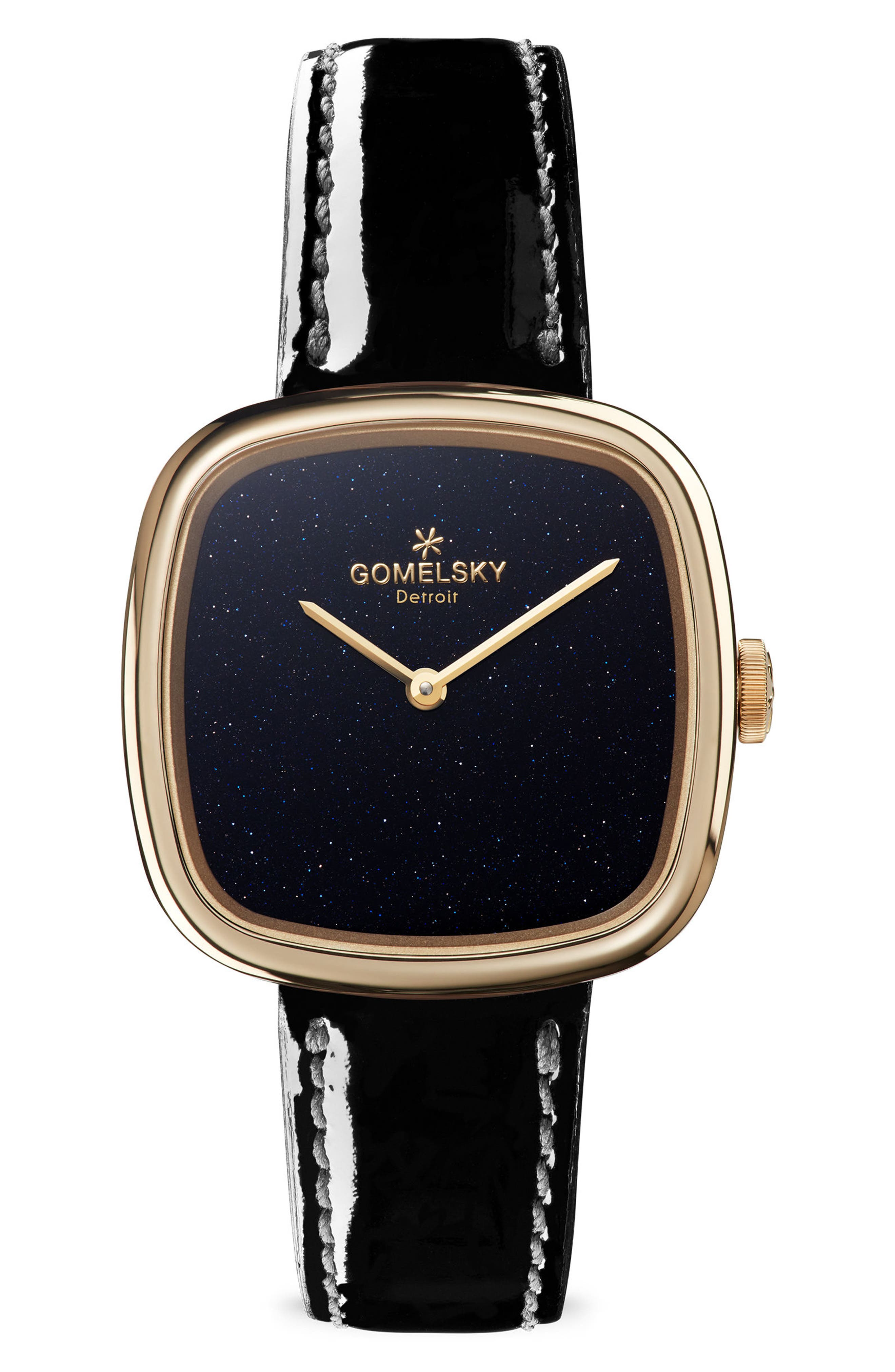 GOMELSKY The Eppie Sneed Leather Strap Watch, 32Mm in Black/ Sandstone/ Gold