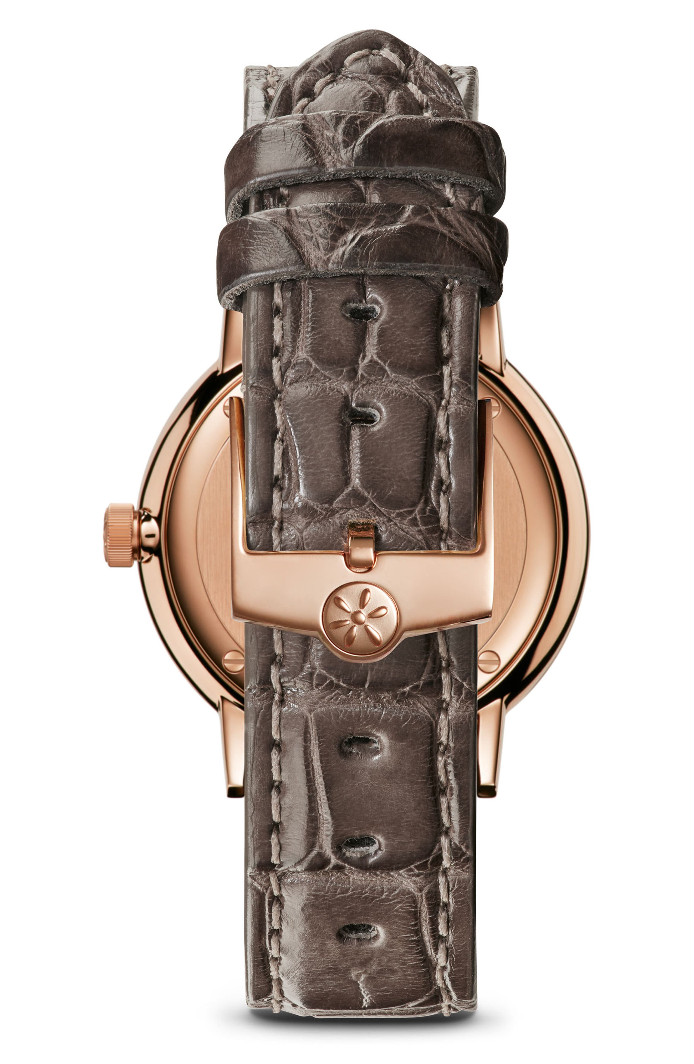 The Agnes Varis Lizard Strap Watch, 32mm,                             Alternate thumbnail 3, color,                             Grey/ Mop/ Rose Gold