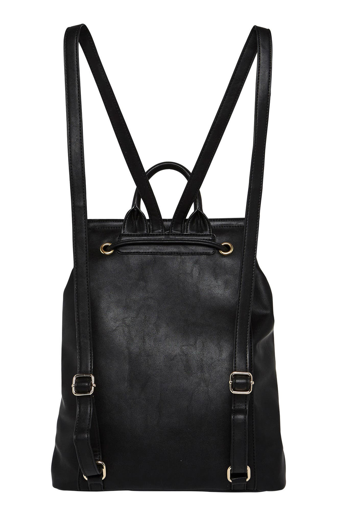 Hide & Seek Vegan Leather Backpack,                             Alternate thumbnail 2, color,                             Black