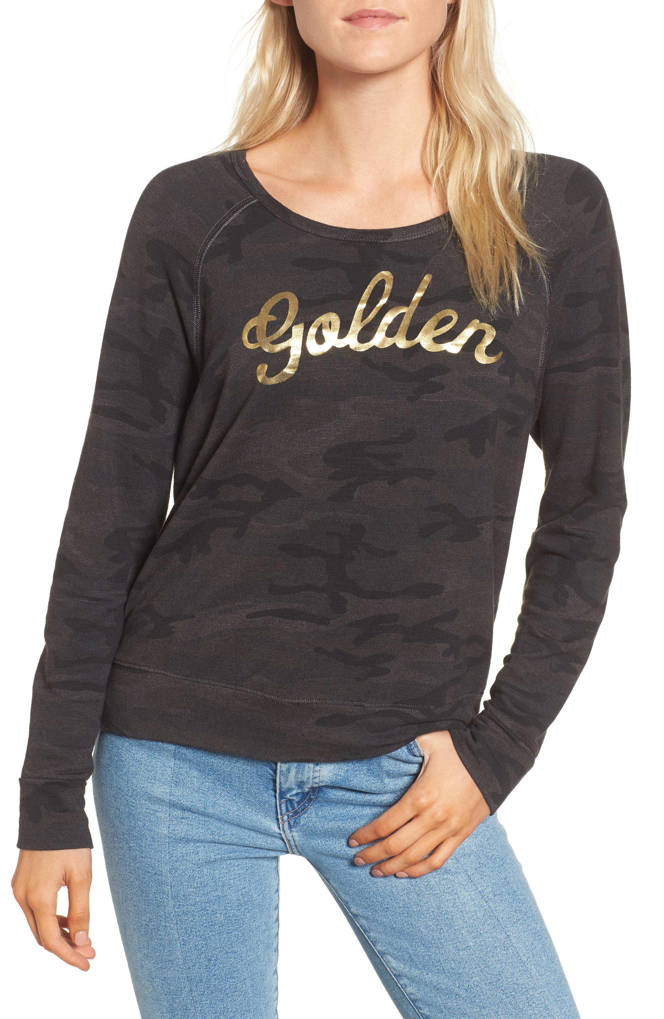 Active Golden Sweatshirt,                             Main thumbnail 1, color,                             Charcoal
