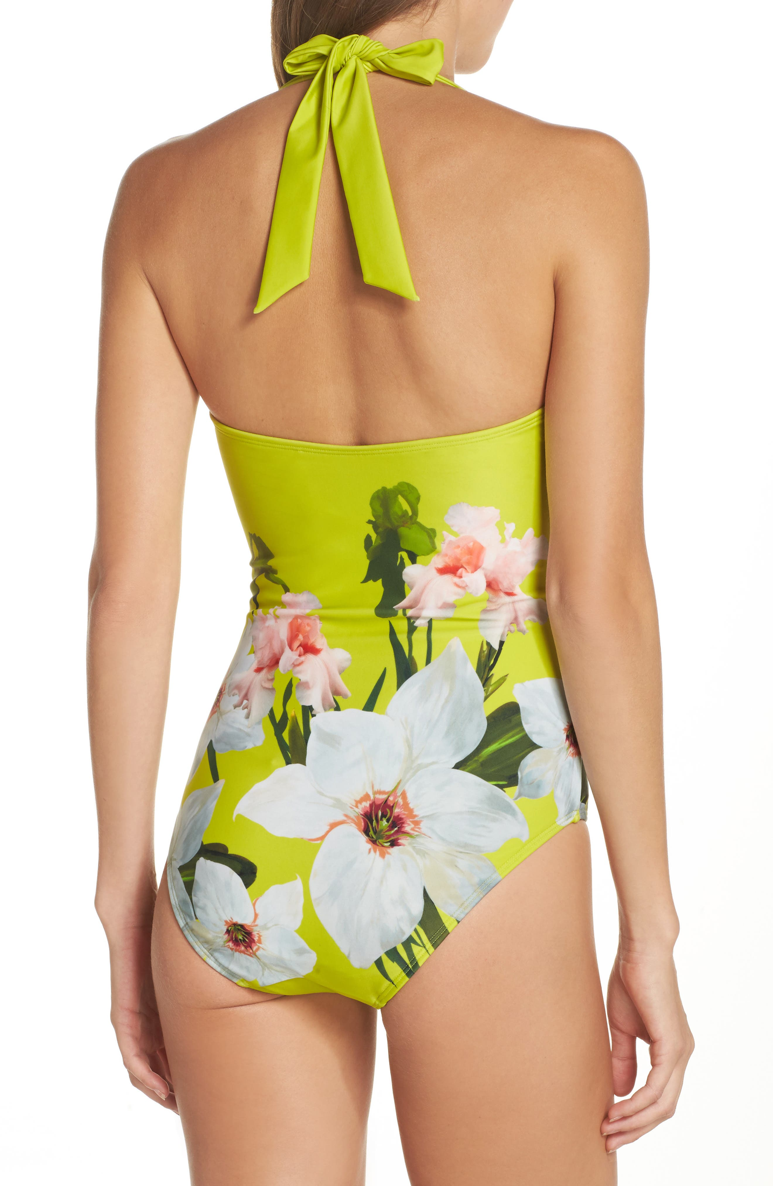 Chatsworth Bloom One-Piece Swimsuit,                             Alternate thumbnail 2, color,                             Light Green