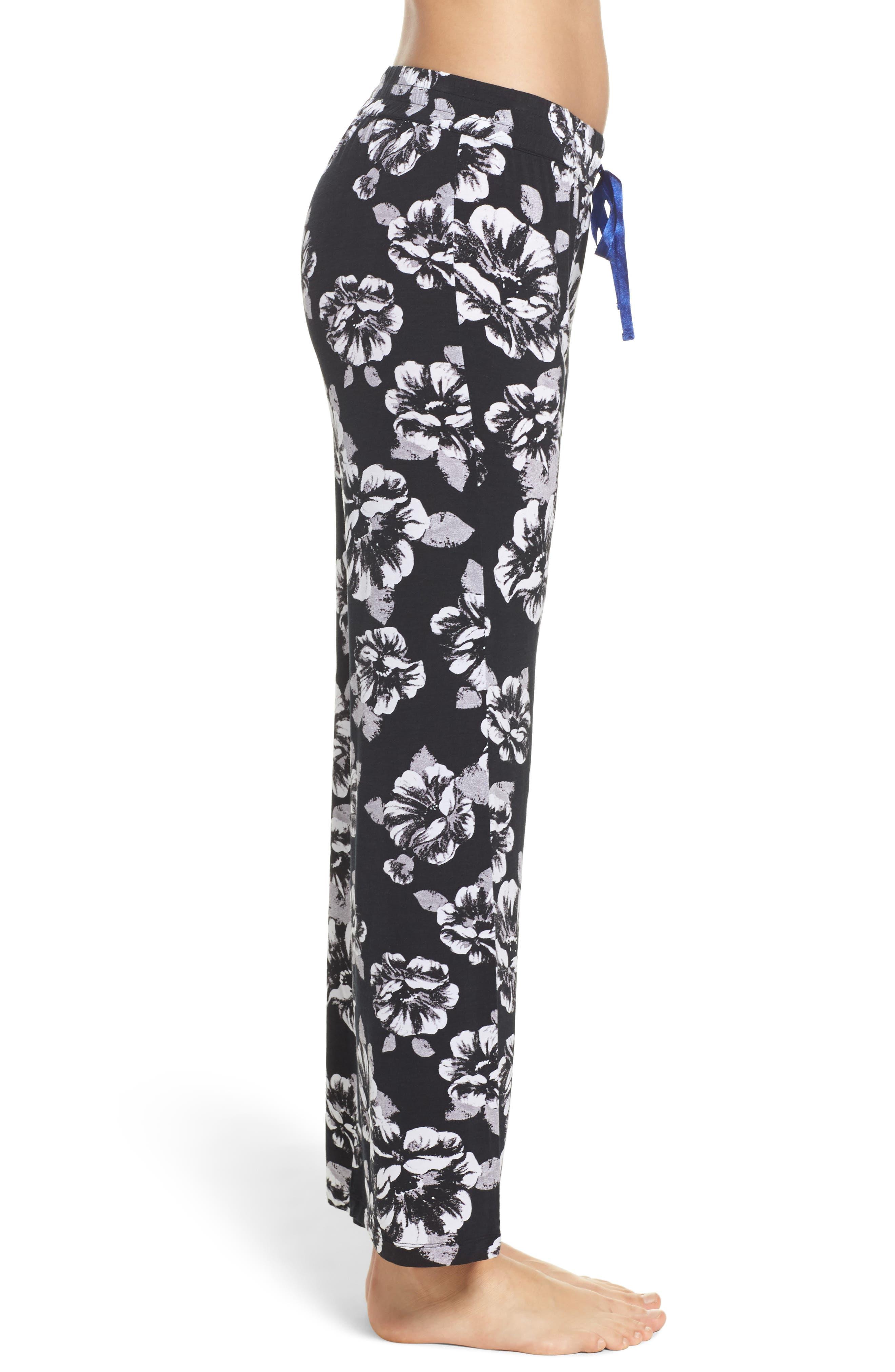 Floral Pajama Pants,                             Alternate thumbnail 3, color,                             Black