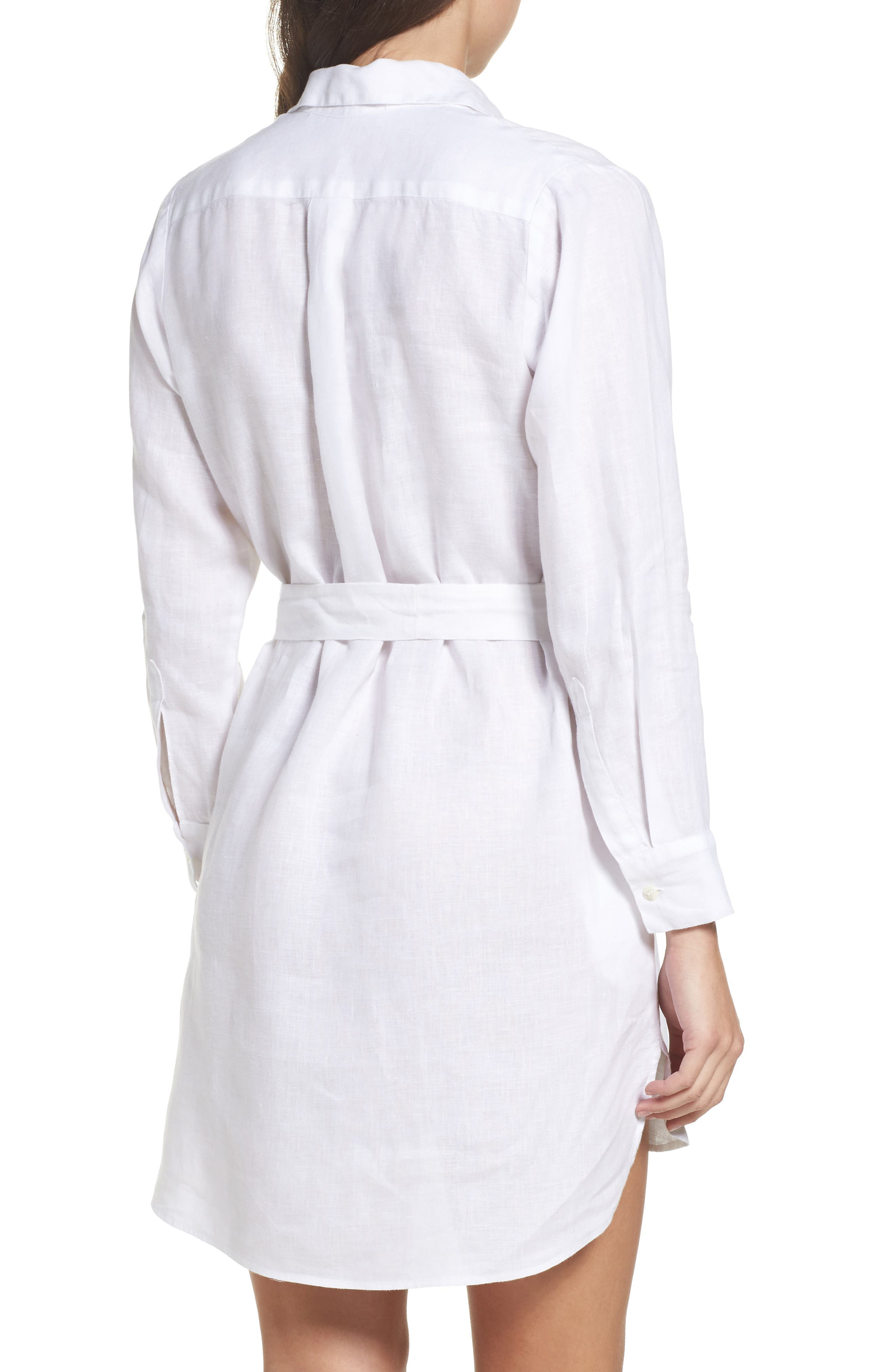 Linen Shirtdress,                             Alternate thumbnail 2, color,                             White