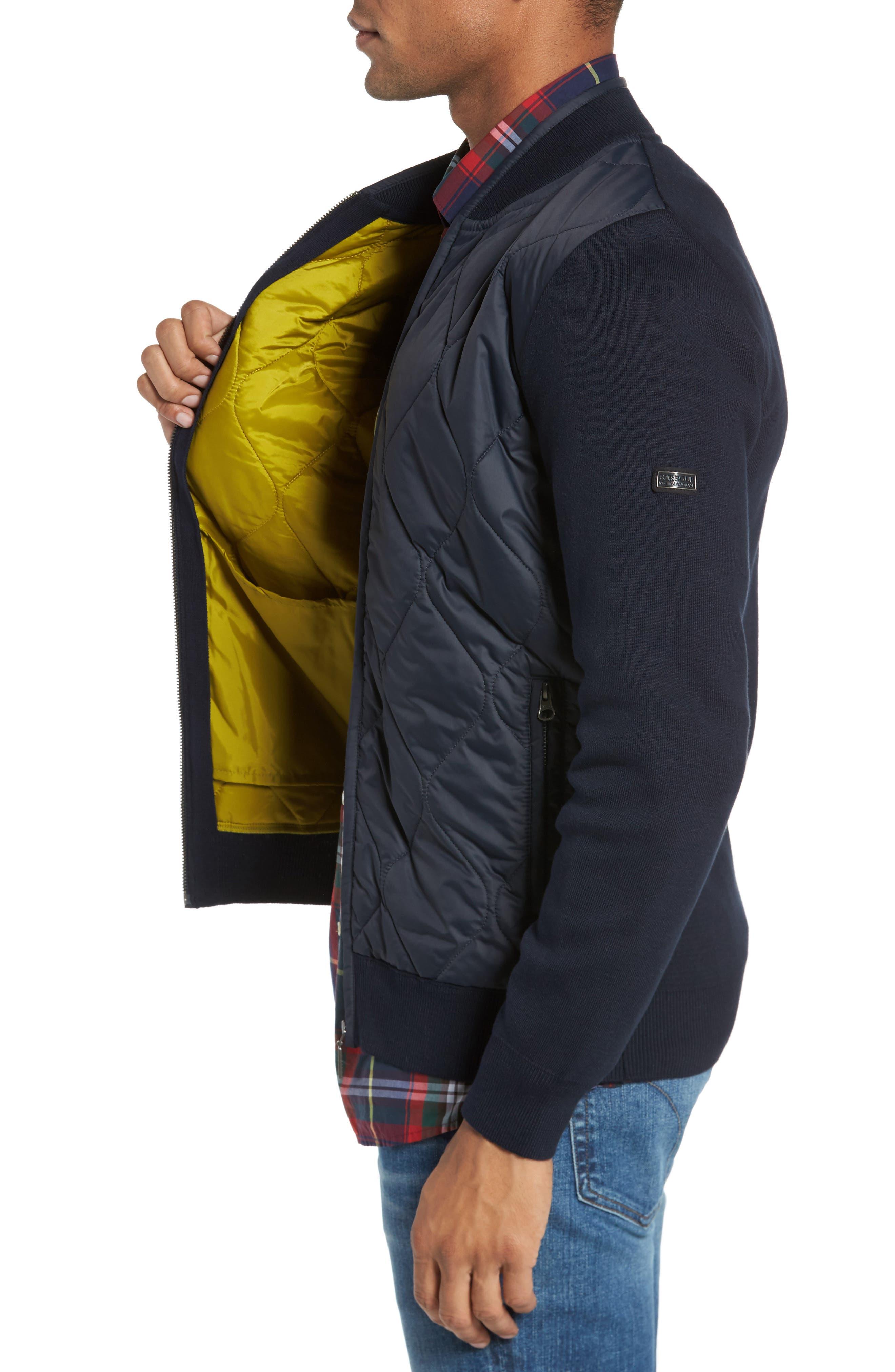 BI Quilt Front Knit Track Jacket,                             Alternate thumbnail 3, color,                             Navy