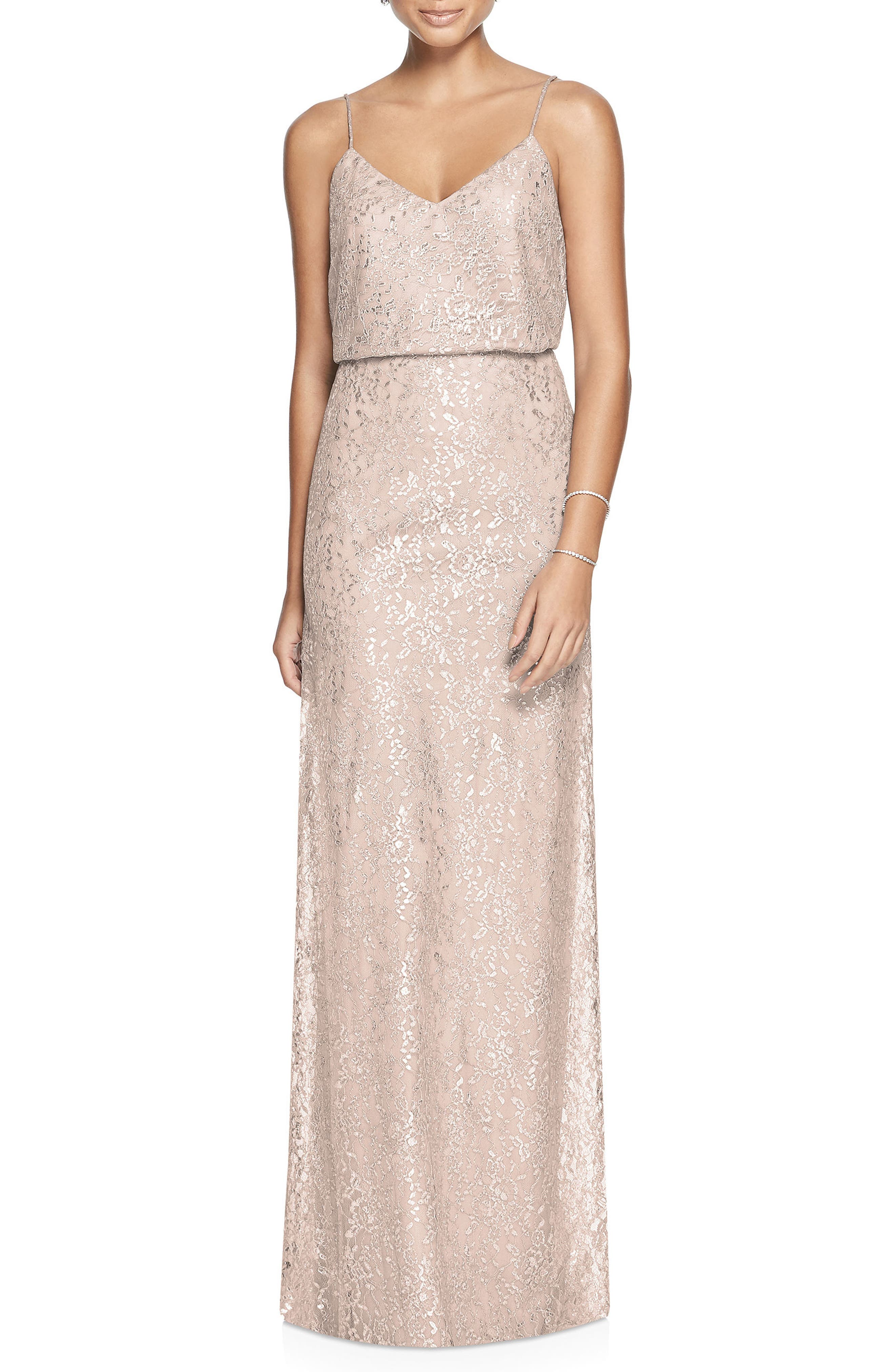 Metallic Lace Two-Piece Gown,                             Main thumbnail 1, color,                             Cameo