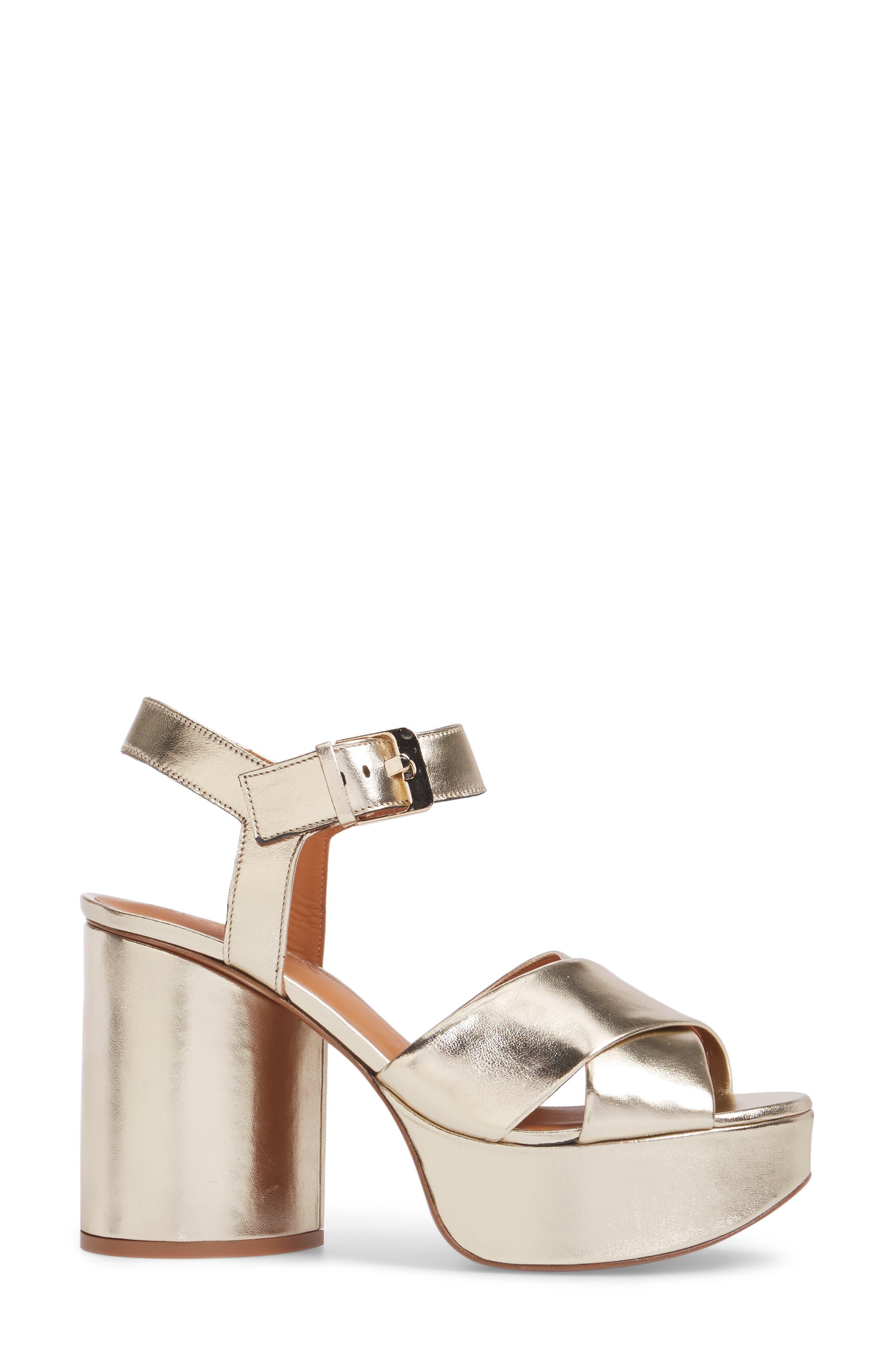 Vianne Ankle Strap Platform Sandal,                             Alternate thumbnail 3, color,                             Metallic Gold