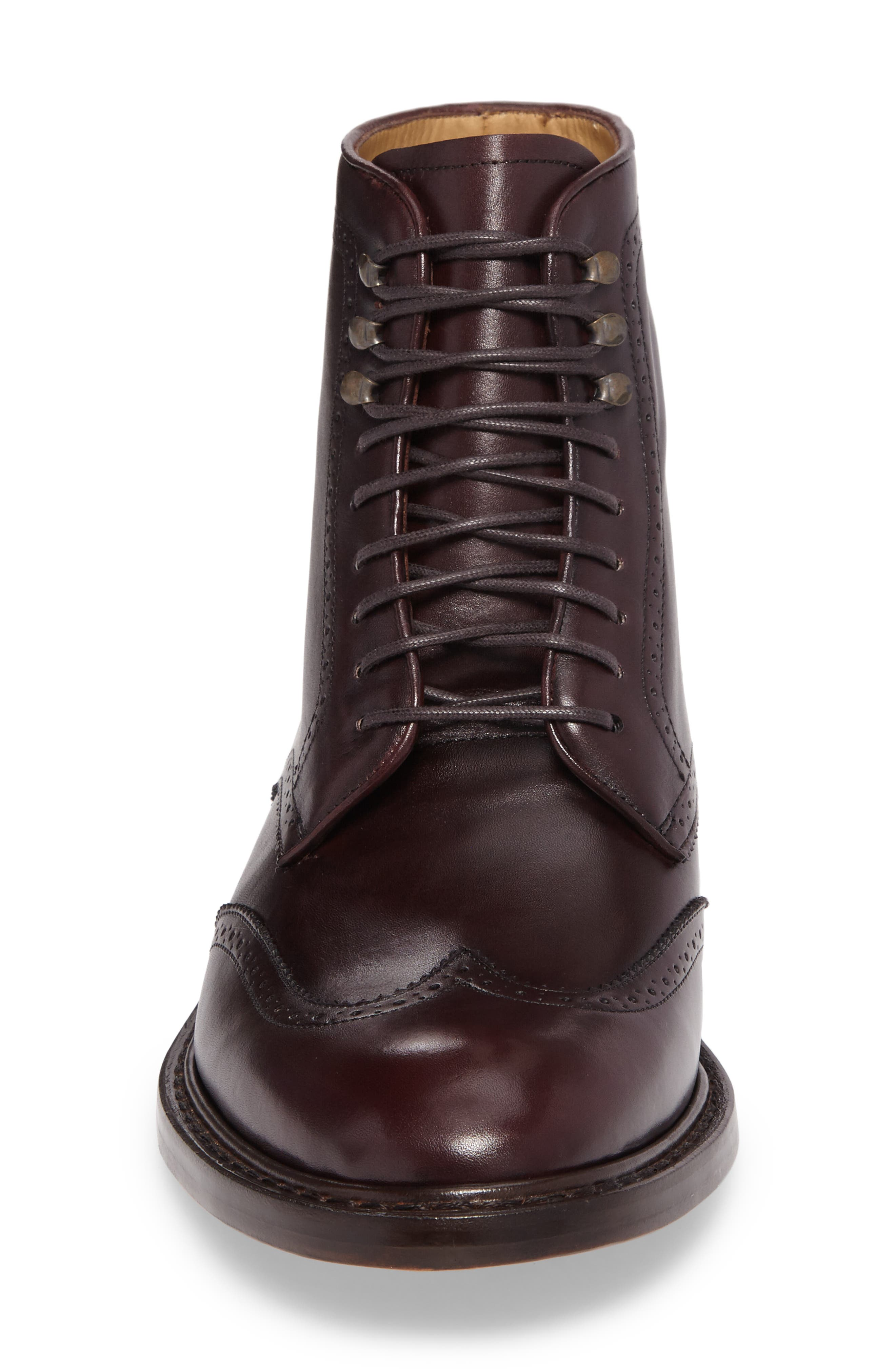 Carter Wingtip Boot,                             Alternate thumbnail 4, color,                             Burgundy Leather