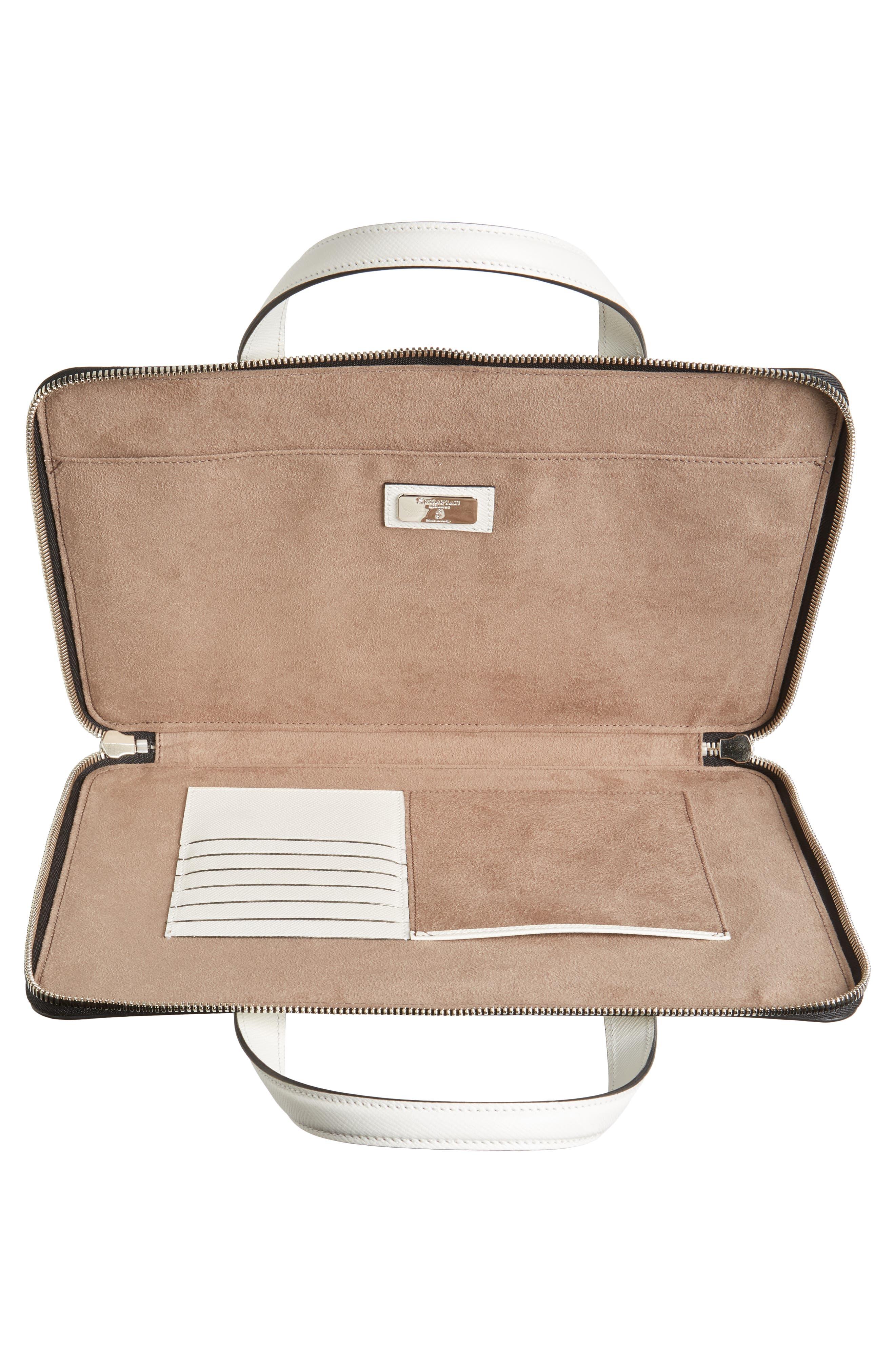 Flat Calfskin Briefcase,                             Alternate thumbnail 4, color,                             Milk