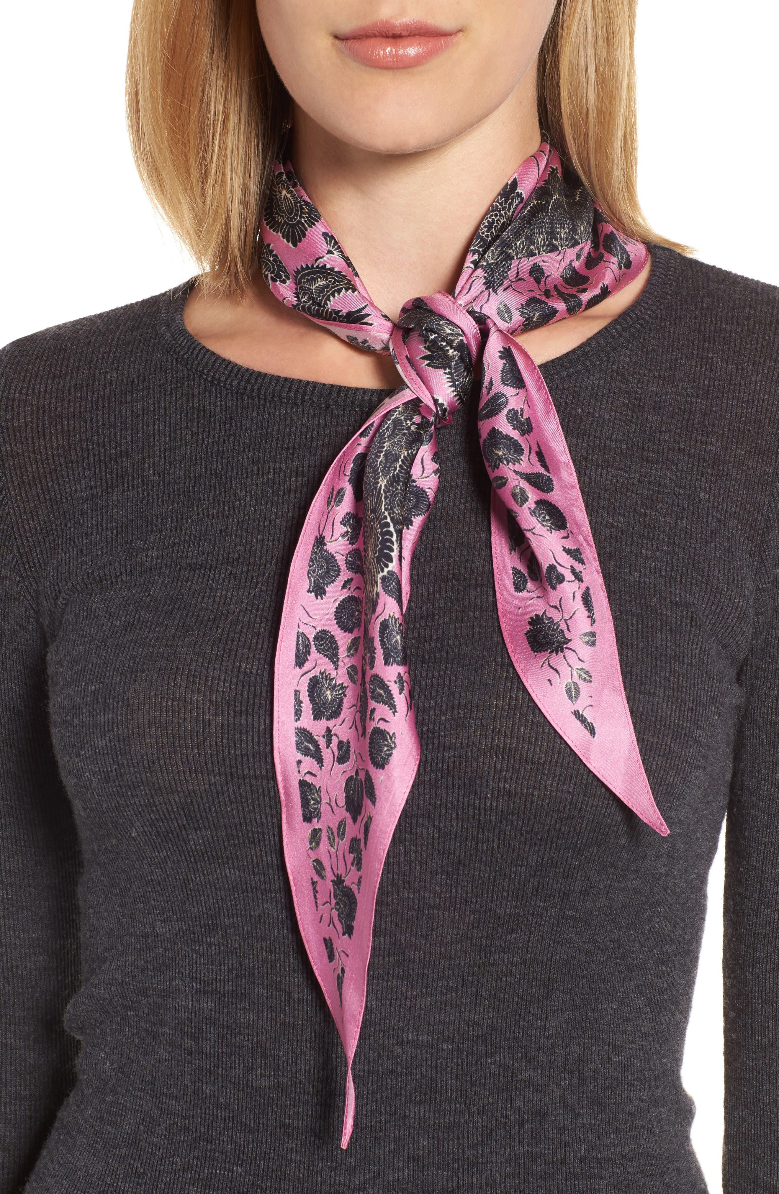 Lotus Paisley Diamond Silk Scarf,                             Main thumbnail 1, color,                             Fuchsia Pink
