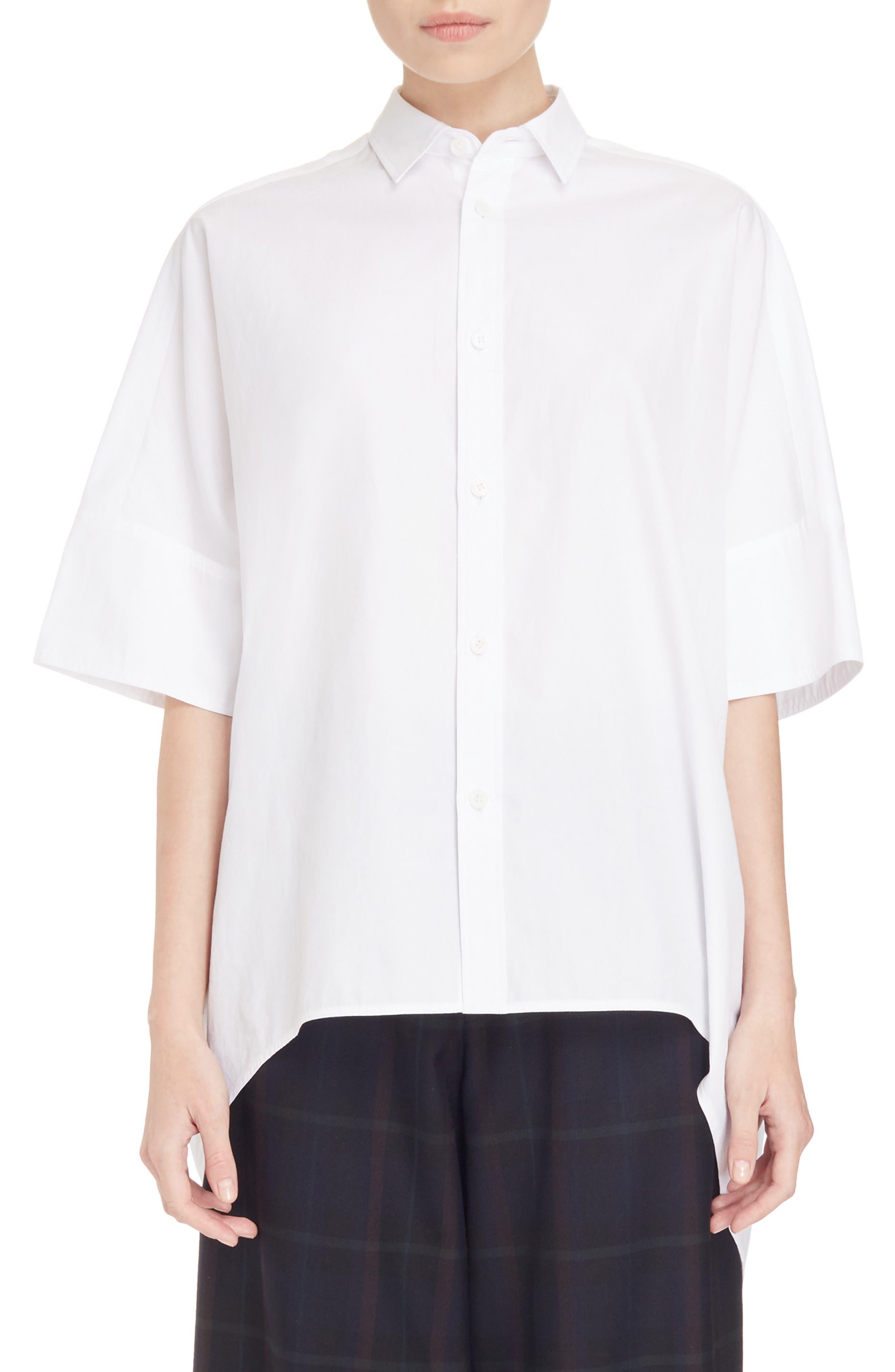 Oversize Drop Hem Shirt,                         Main,                         color, White