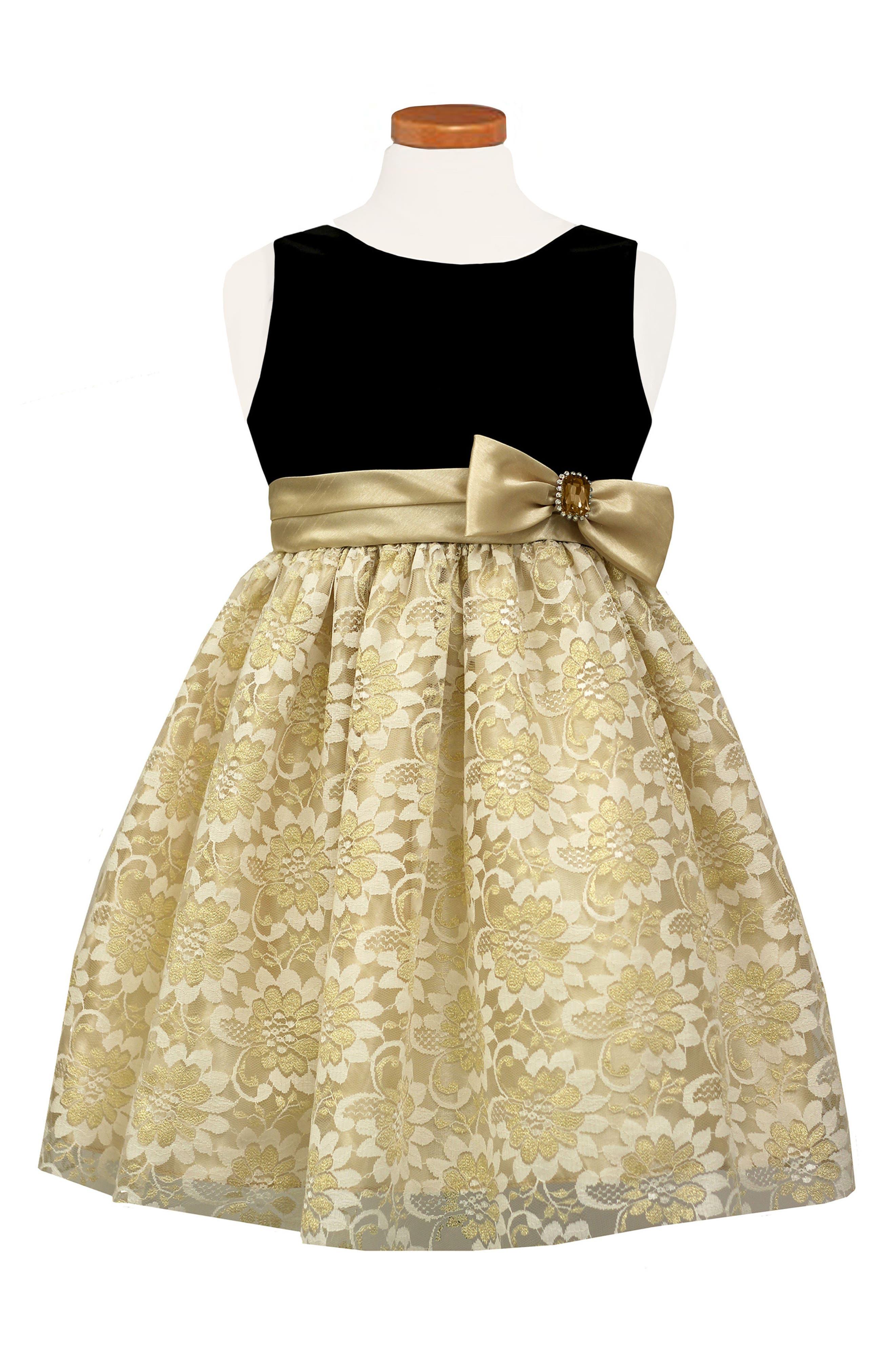 Velvet & Lace Dress,                         Main,                         color, Gold