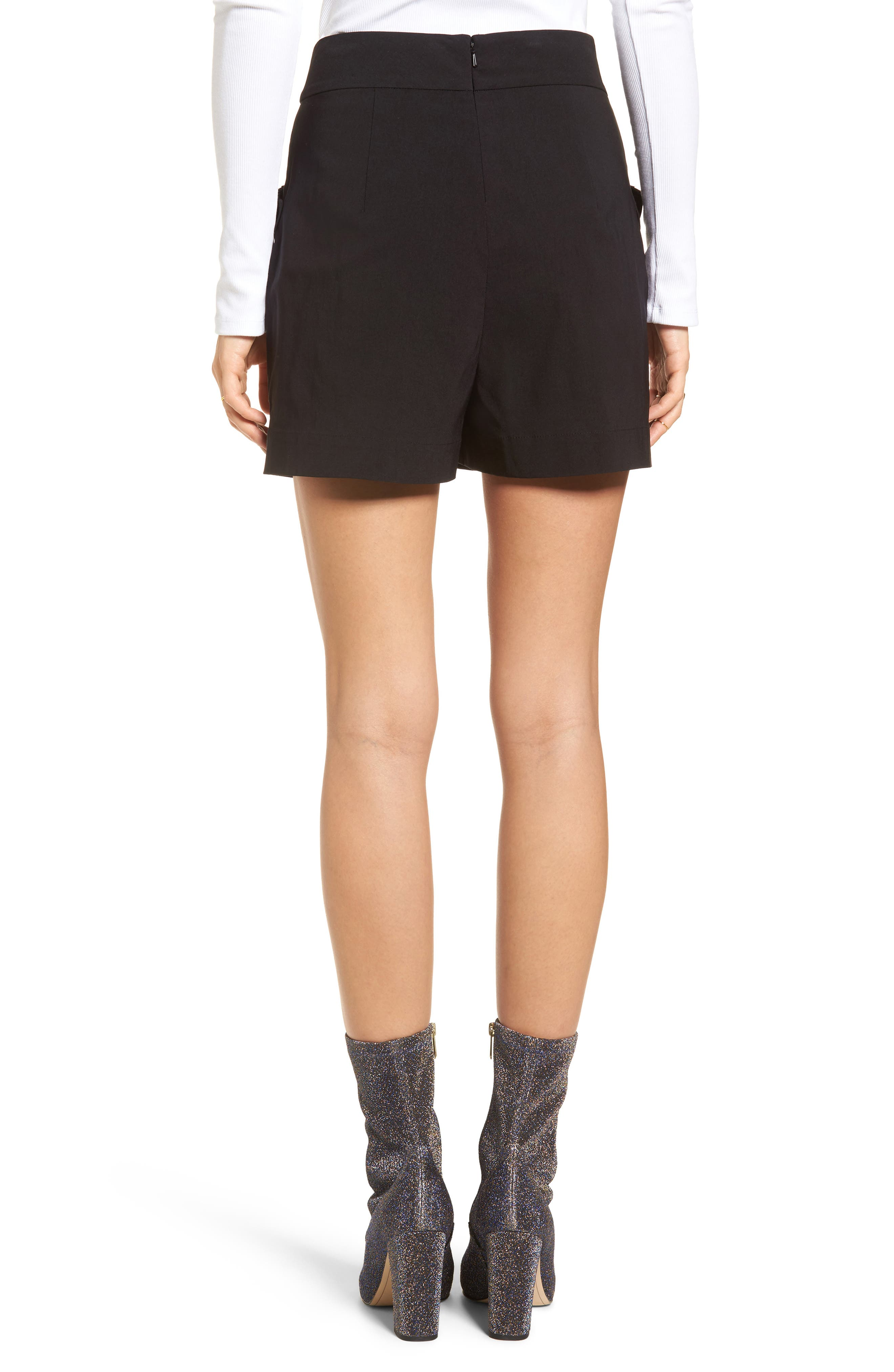Pleat Trim High Waist Shorts,                             Alternate thumbnail 2, color,                             Black