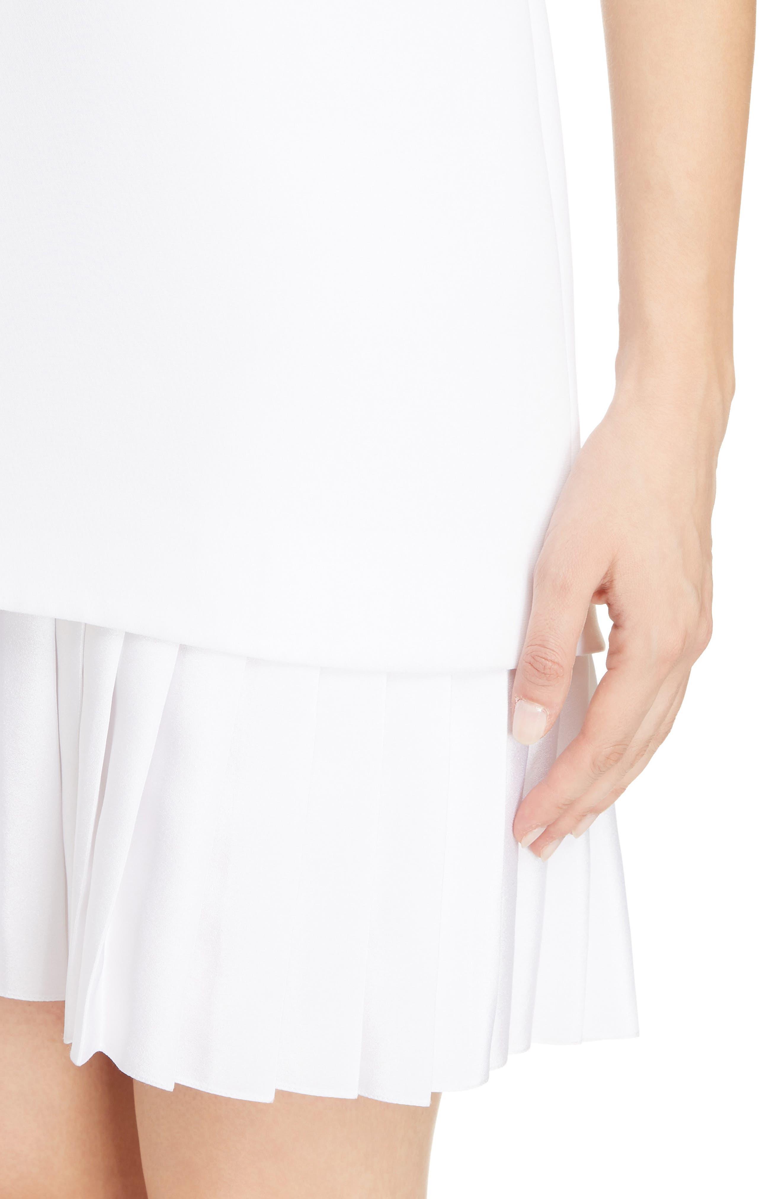 Victoria Victoria Beckham Pleated Hem Shift Dress,                             Alternate thumbnail 4, color,                             Optic White