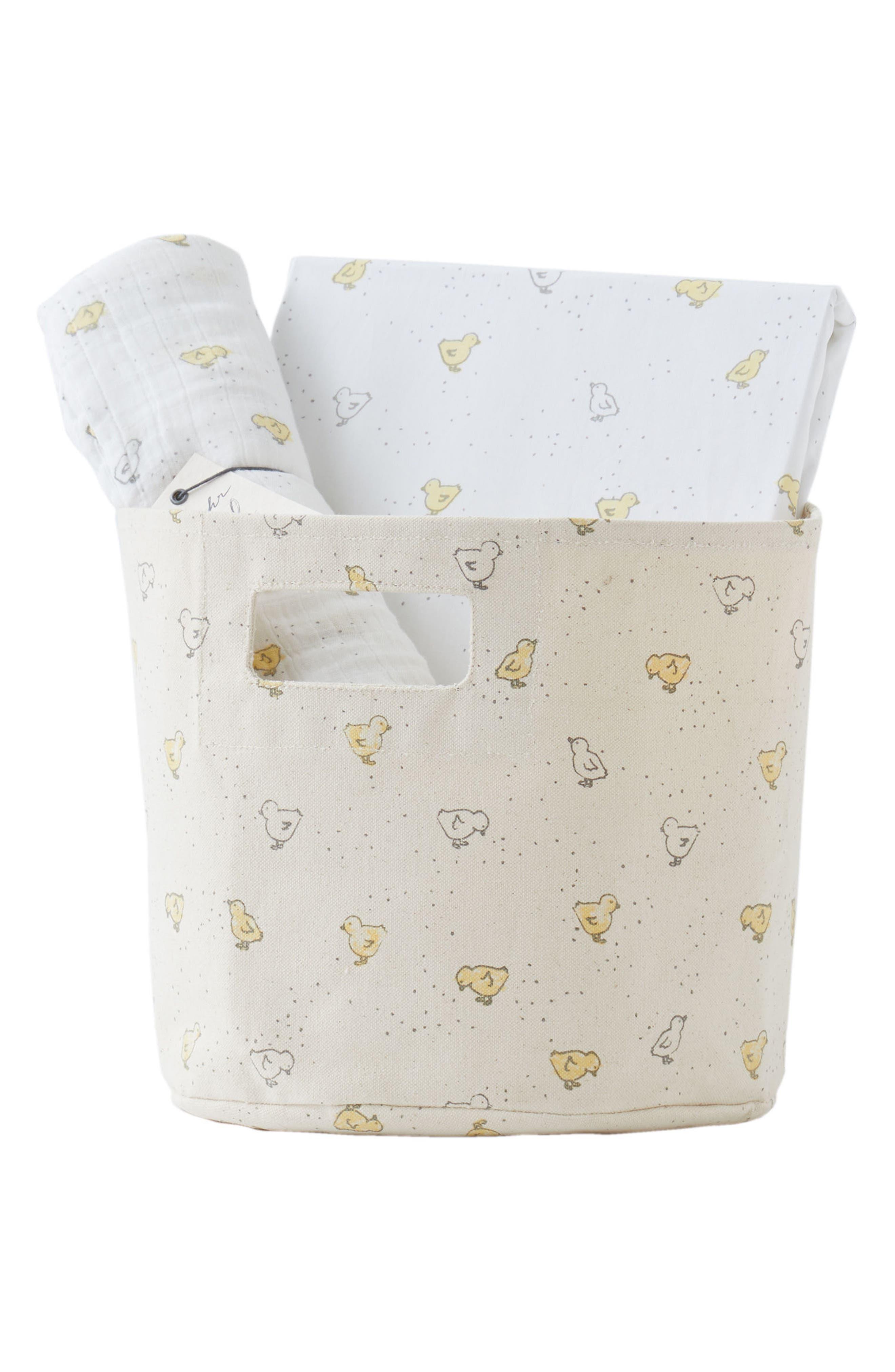 Chick Crib Sheet, Swaddle & Bin Set,                             Main thumbnail 1, color,                             Cream