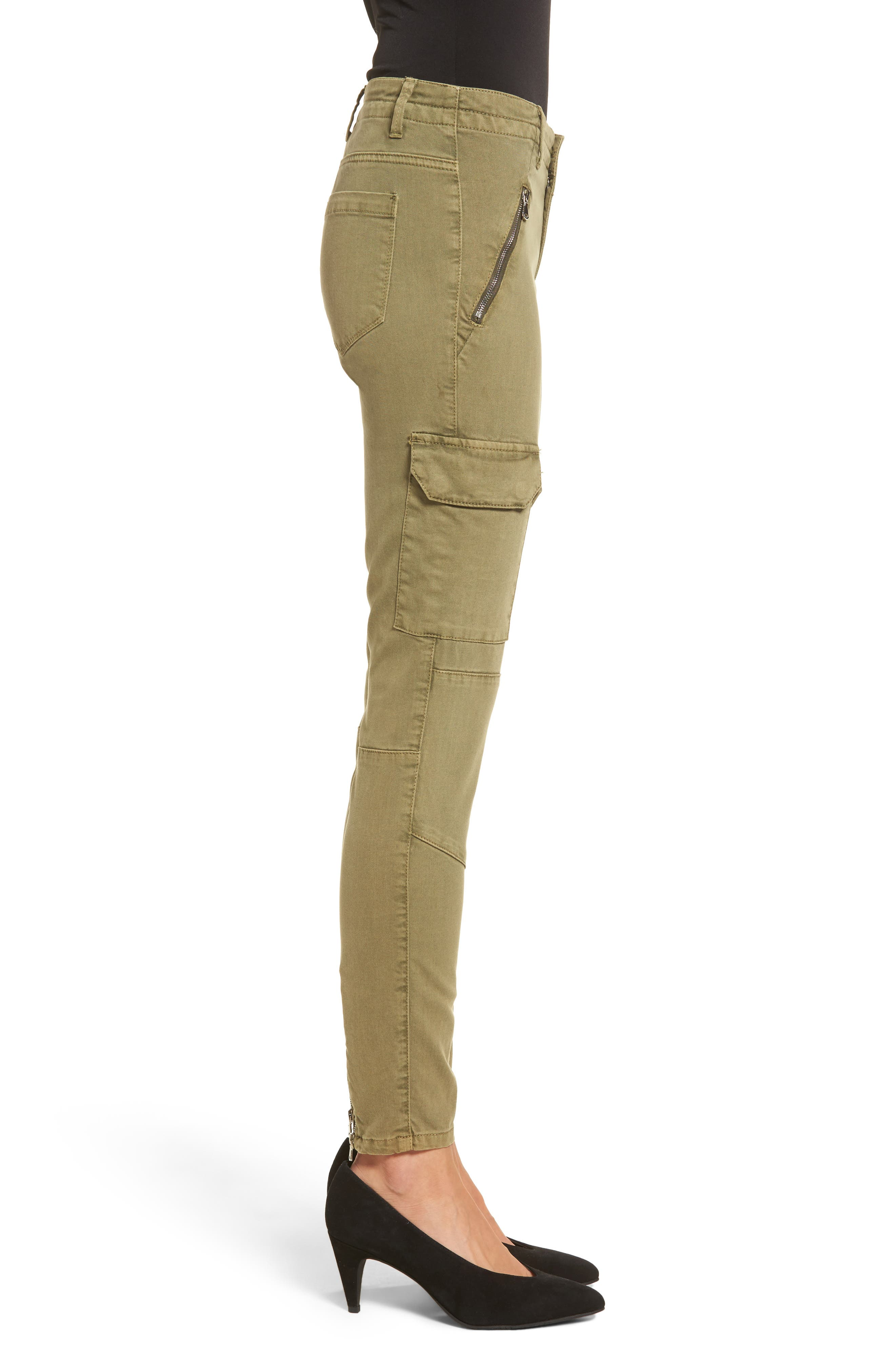 Skinny Cargo Pants,                             Alternate thumbnail 3, color,                             Olive
