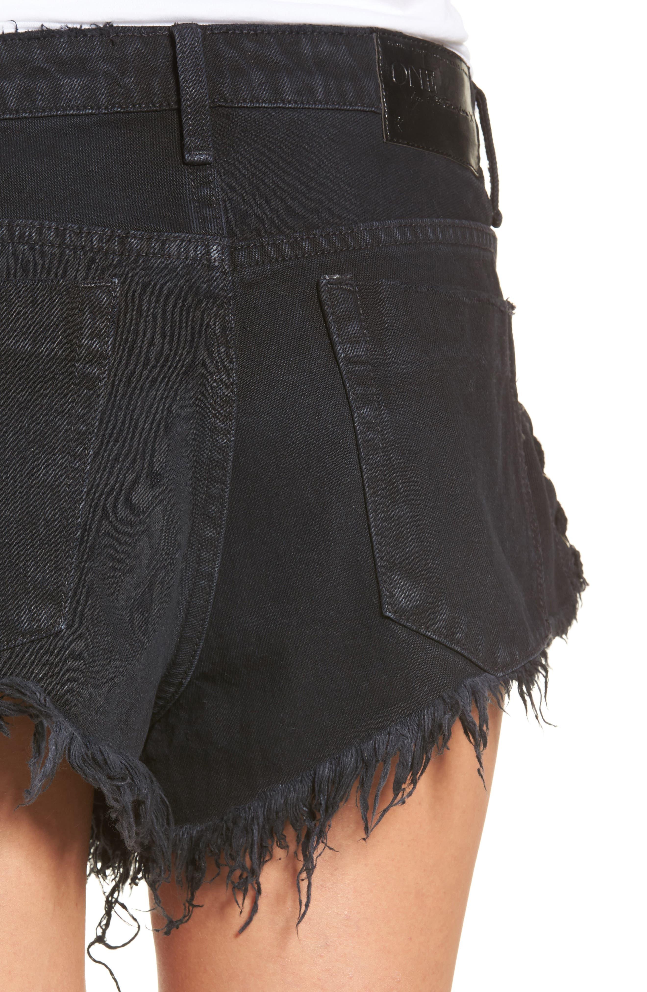 Alternate Image 4  - One Teaspoon Brandos Relaxed Fit Cutoff Denim Shorts
