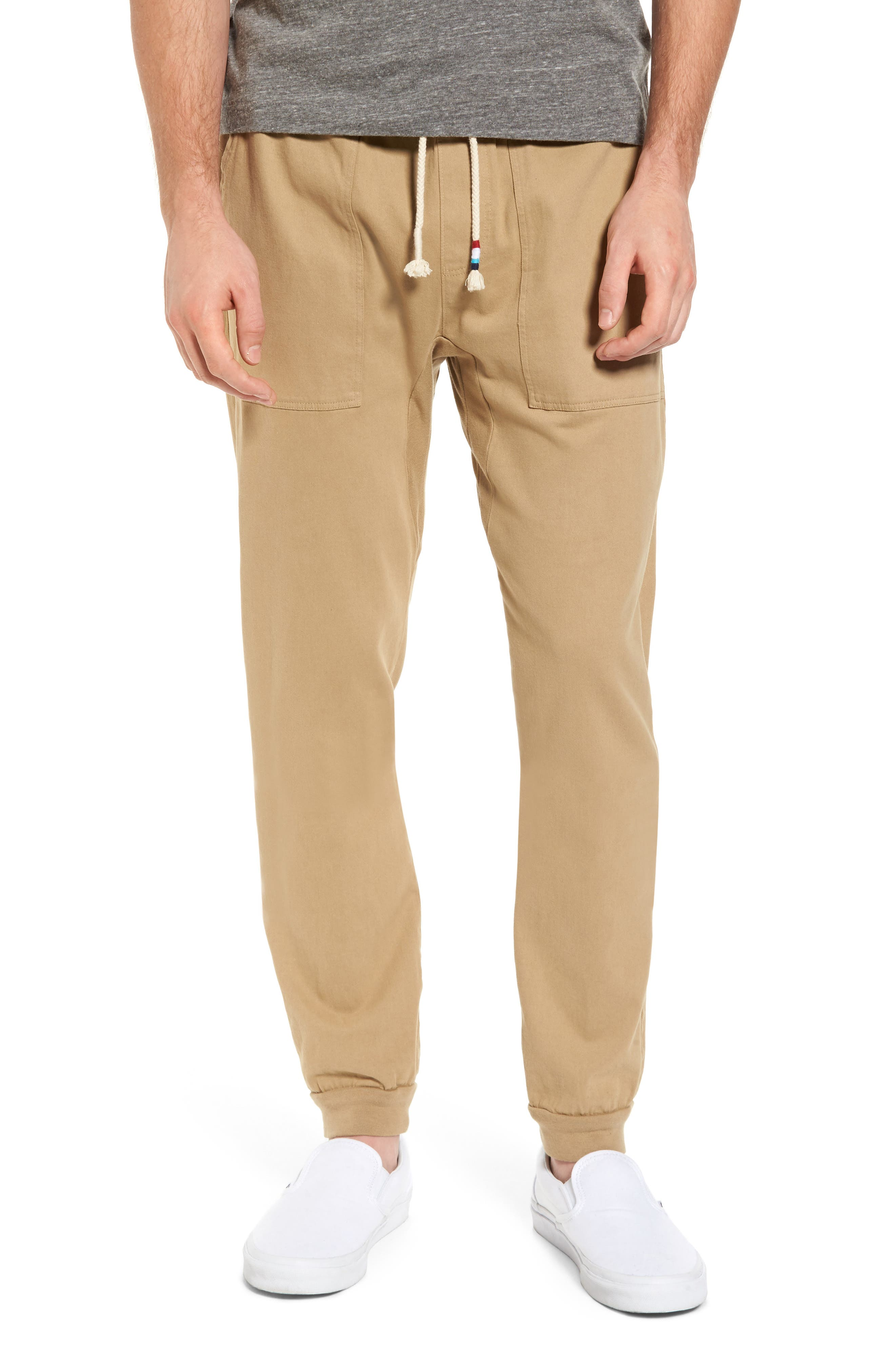 Essential Twill Jogger Pants,                             Main thumbnail 1, color,                             Khaki