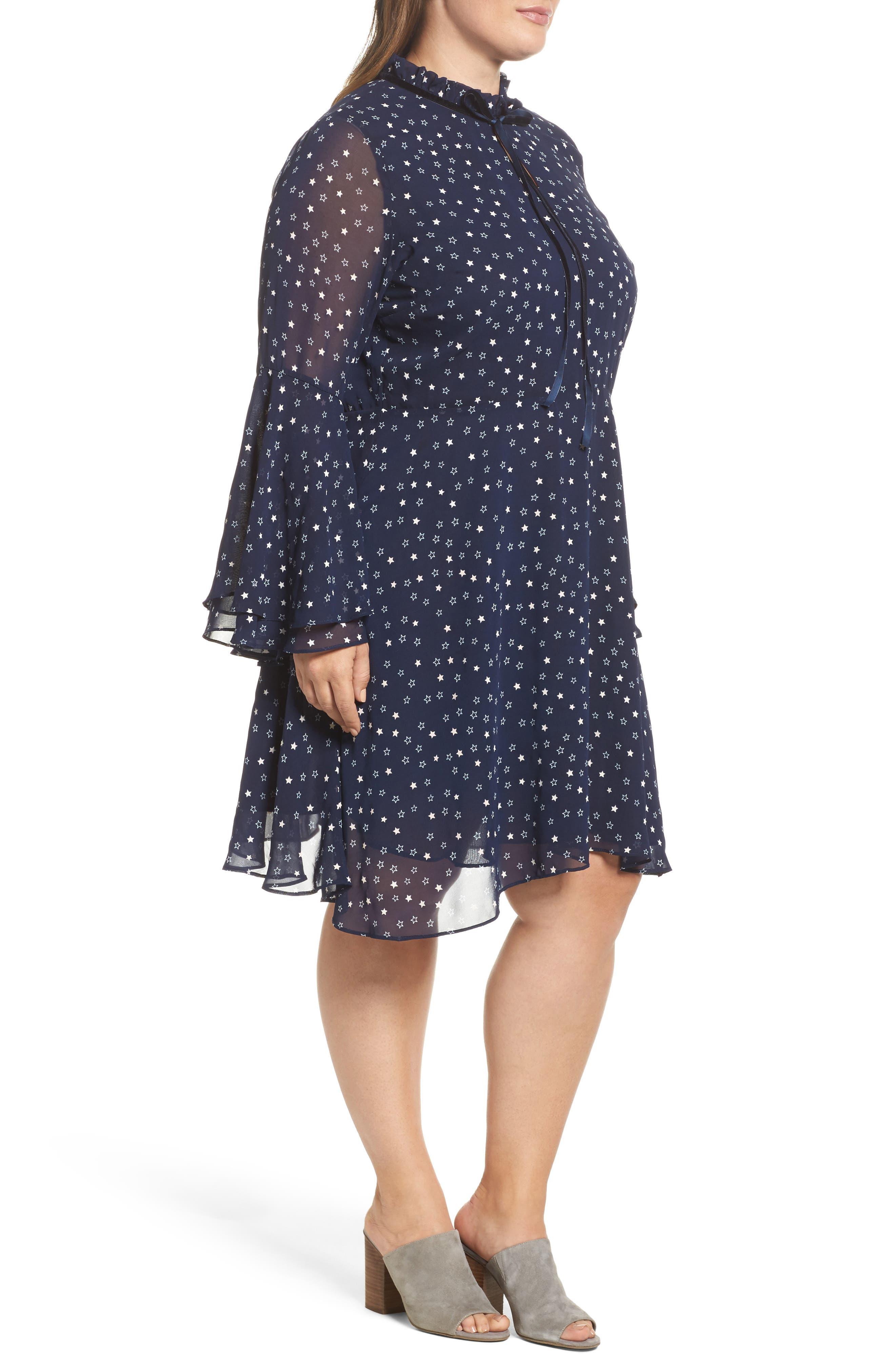 Alternate Image 2  - Glamorous Bell Sleeve Floral Minidress (Plus Size)