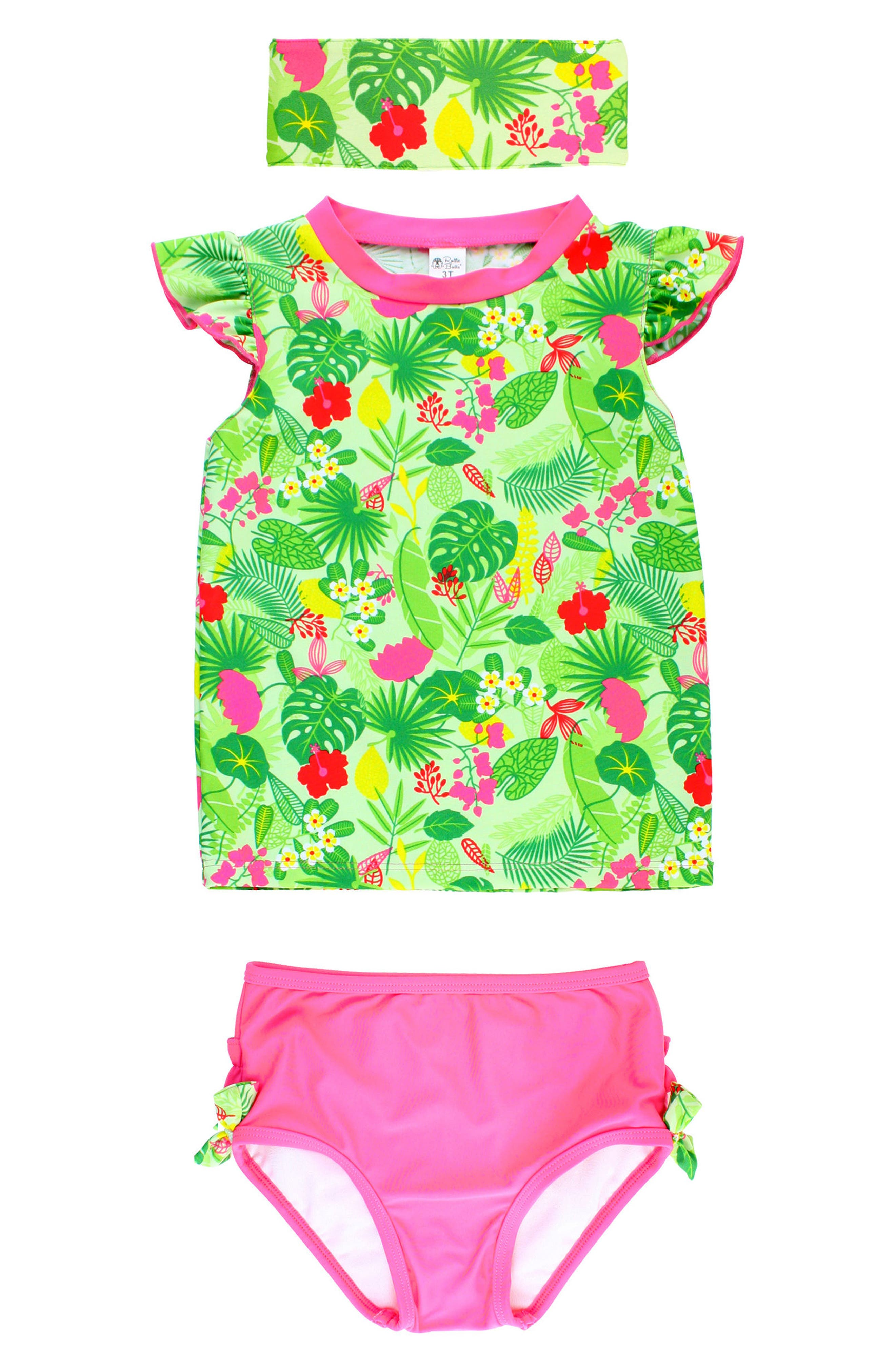 Tropical Two-Piece Rashguard Swimsuit & Headband Set,                         Main,                         color, Green