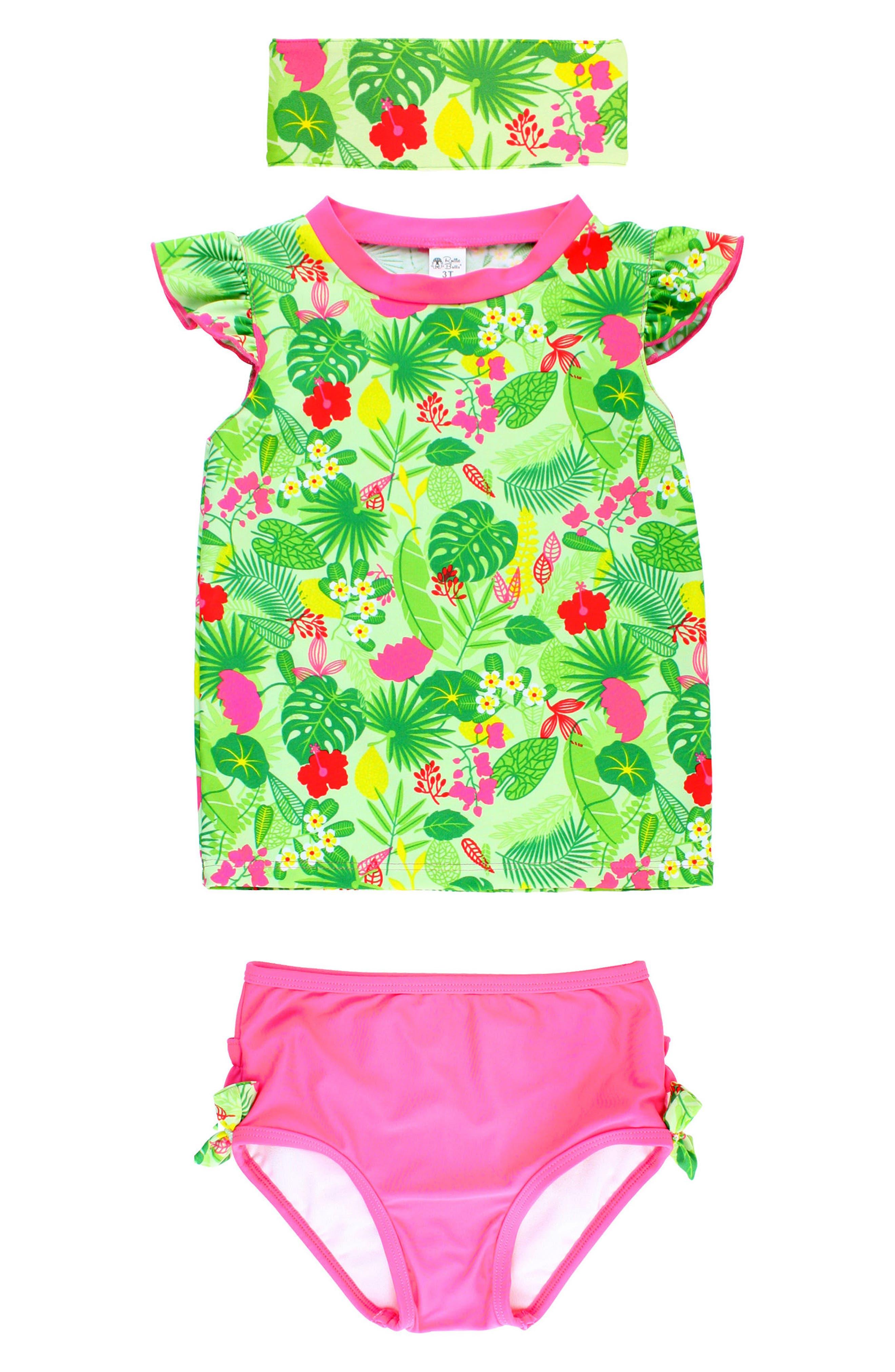 RuffleButts Tropical Two-Piece Rashguard Swimsuit & Headband Set (Baby Girls)