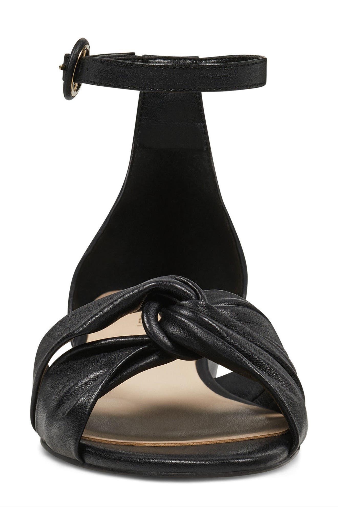 Lumsi Ankle Strap Sandal,                             Alternate thumbnail 4, color,                             Black Leather