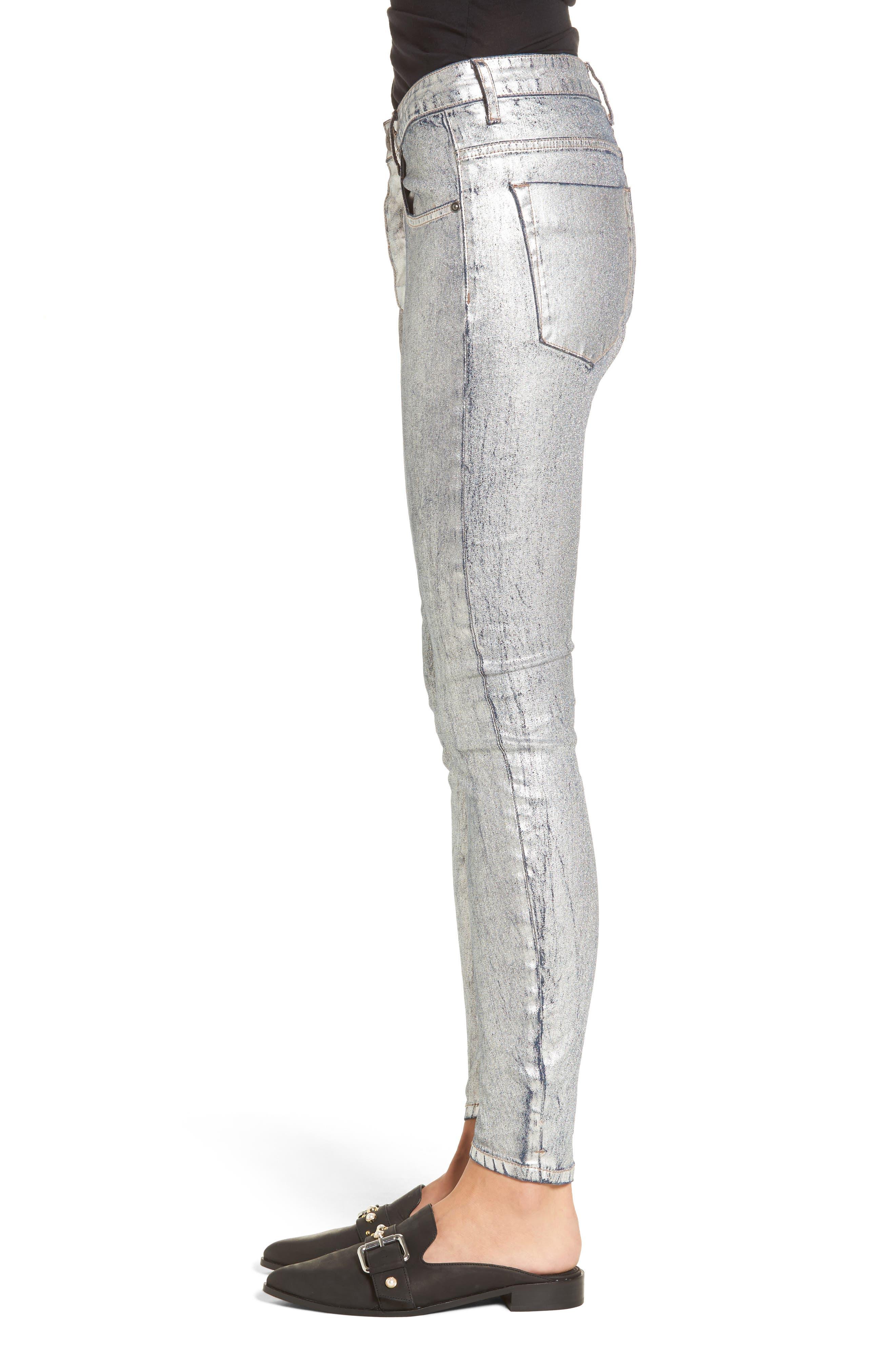 Kidds Metallic Drop Crotch Skinny Jeans,                             Alternate thumbnail 3, color,                             Nightshade