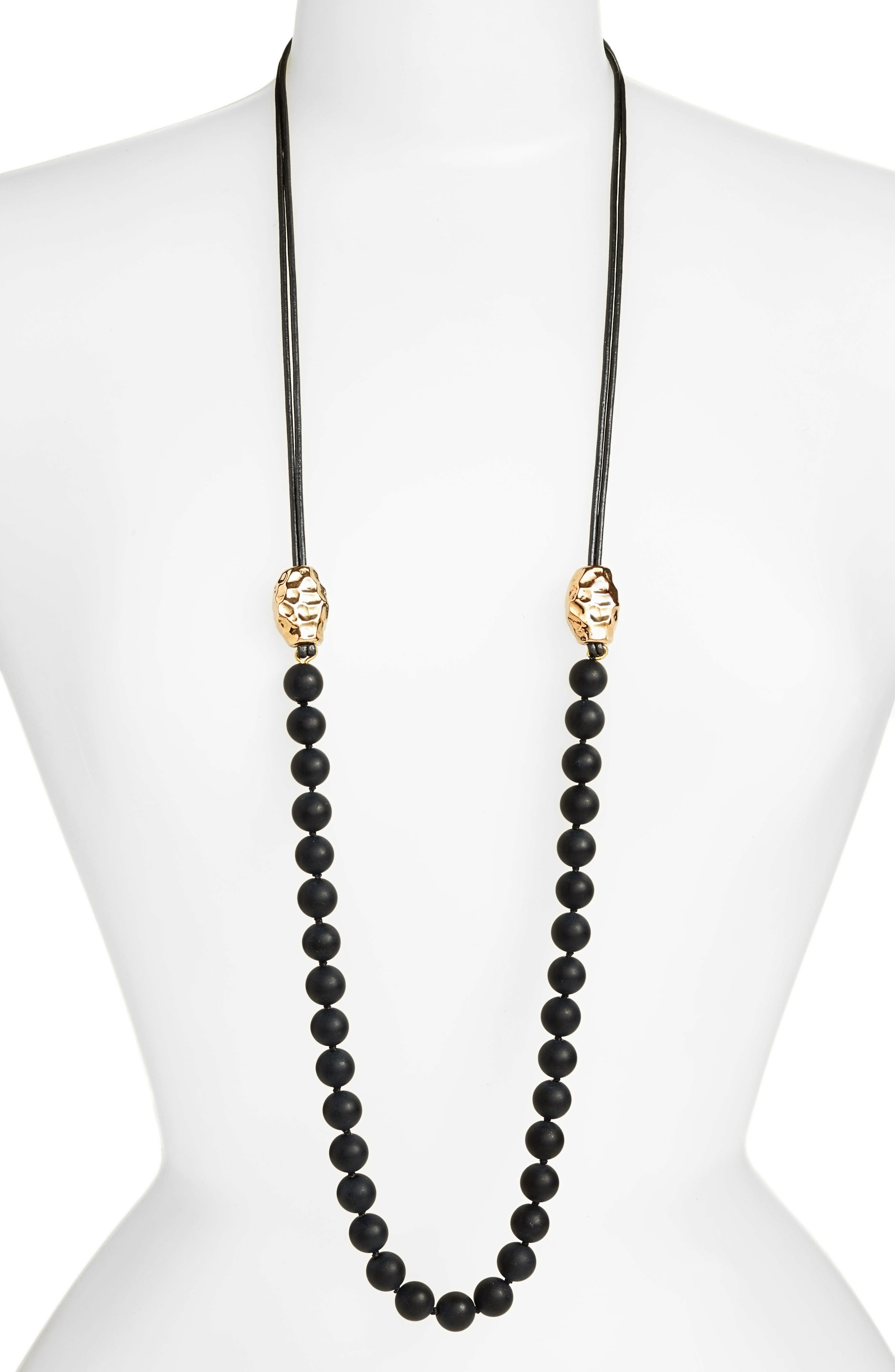 Vermeil Bead Matte Onyx Necklace,                         Main,                         color, Black/ Gold