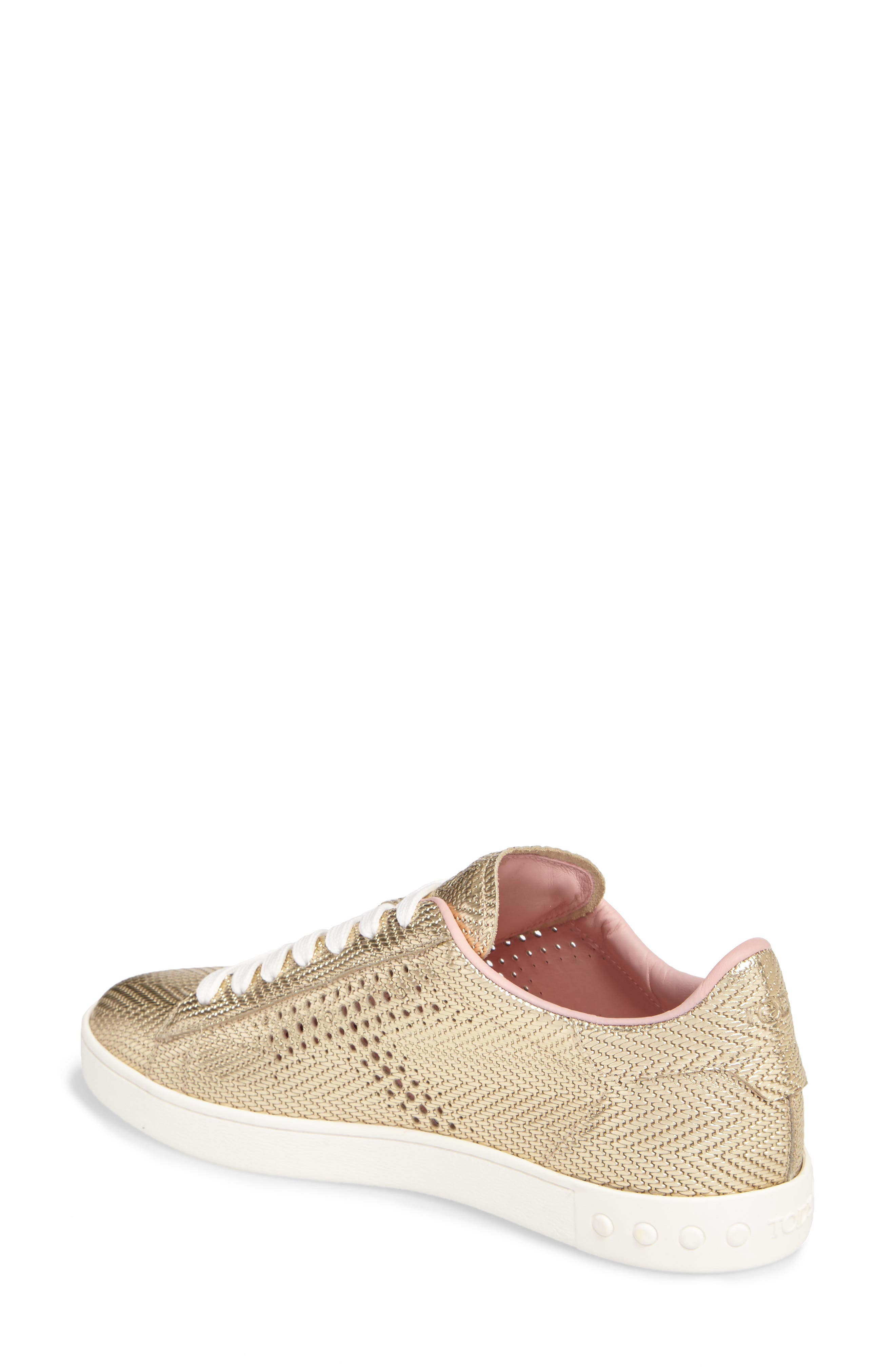 Perforated T Sneaker,                             Alternate thumbnail 2, color,                             Rose Gold