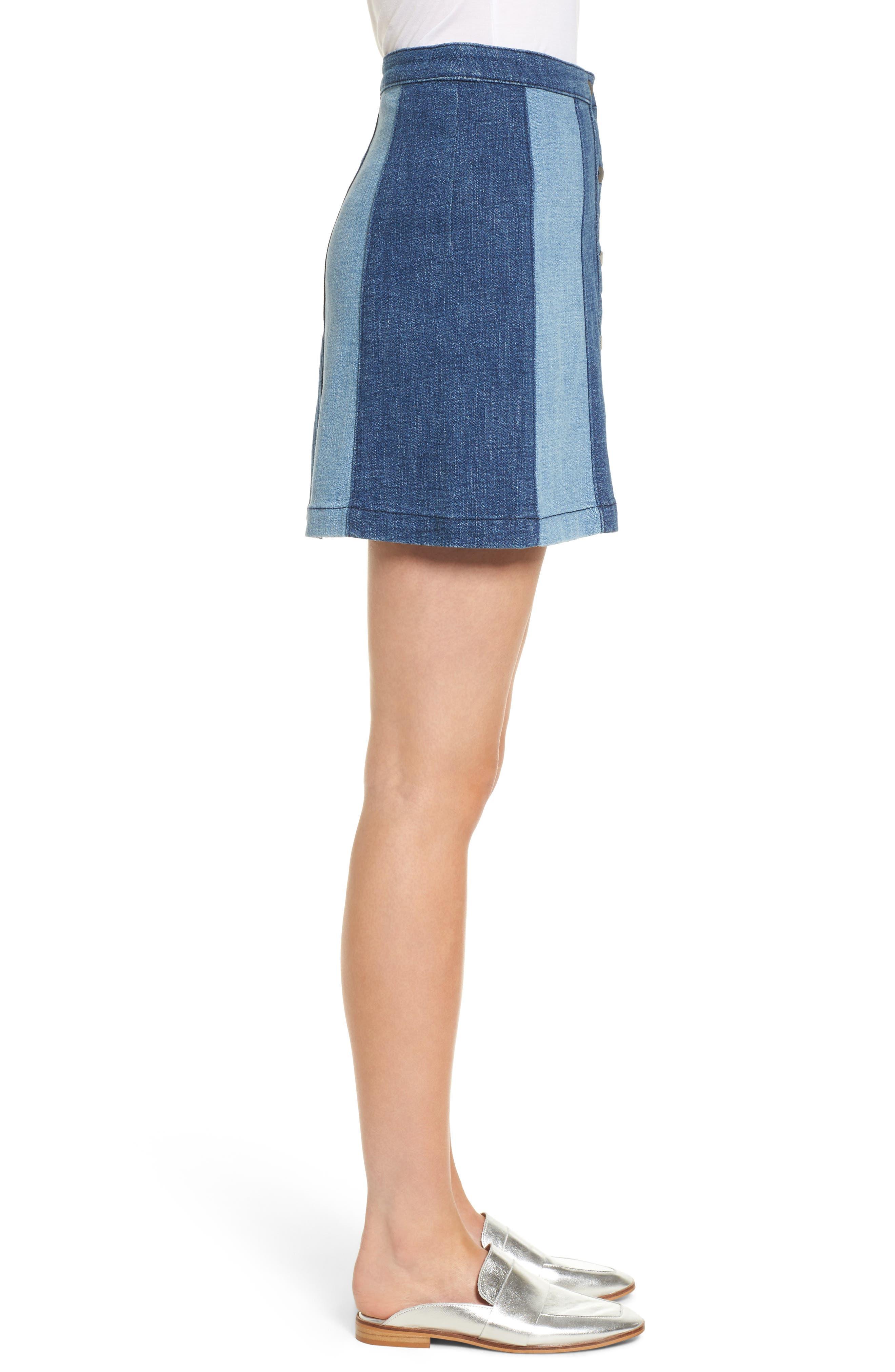Beatty Denim Miniskirt,                             Alternate thumbnail 3, color,                             Indigo