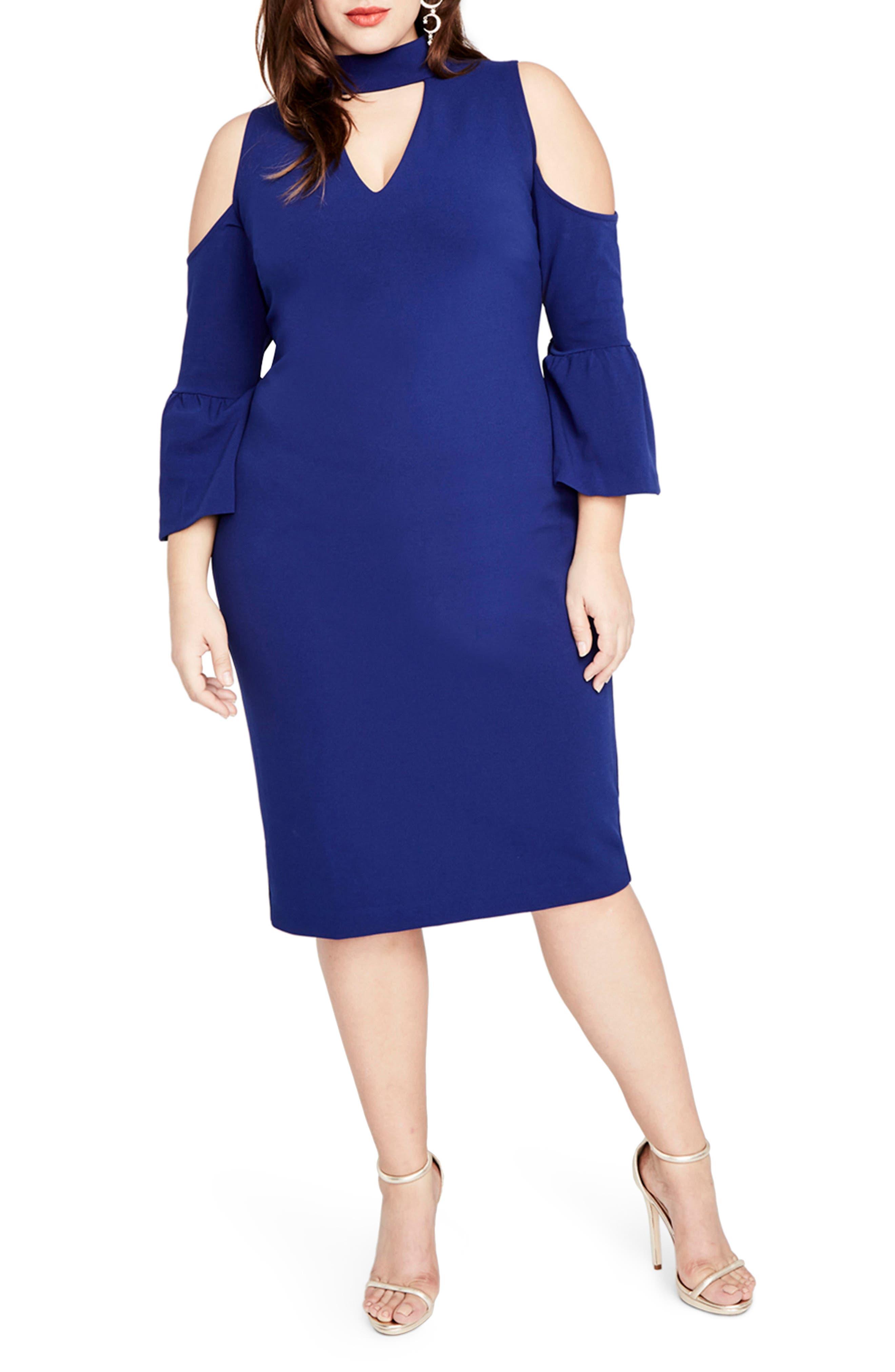 RACHEL Rachel Roy Cold Shoulder Choker Neck Dress (Plus Size)