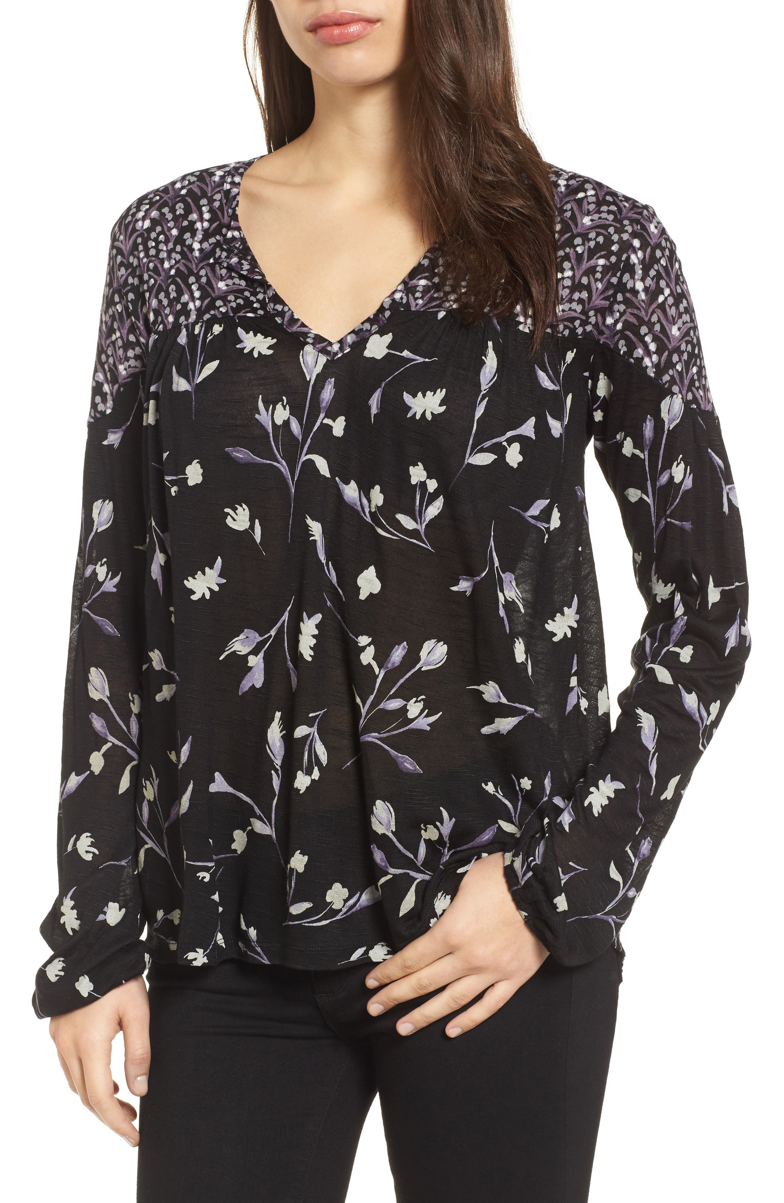 Lucky Brand Bouquet Mixed Print Top