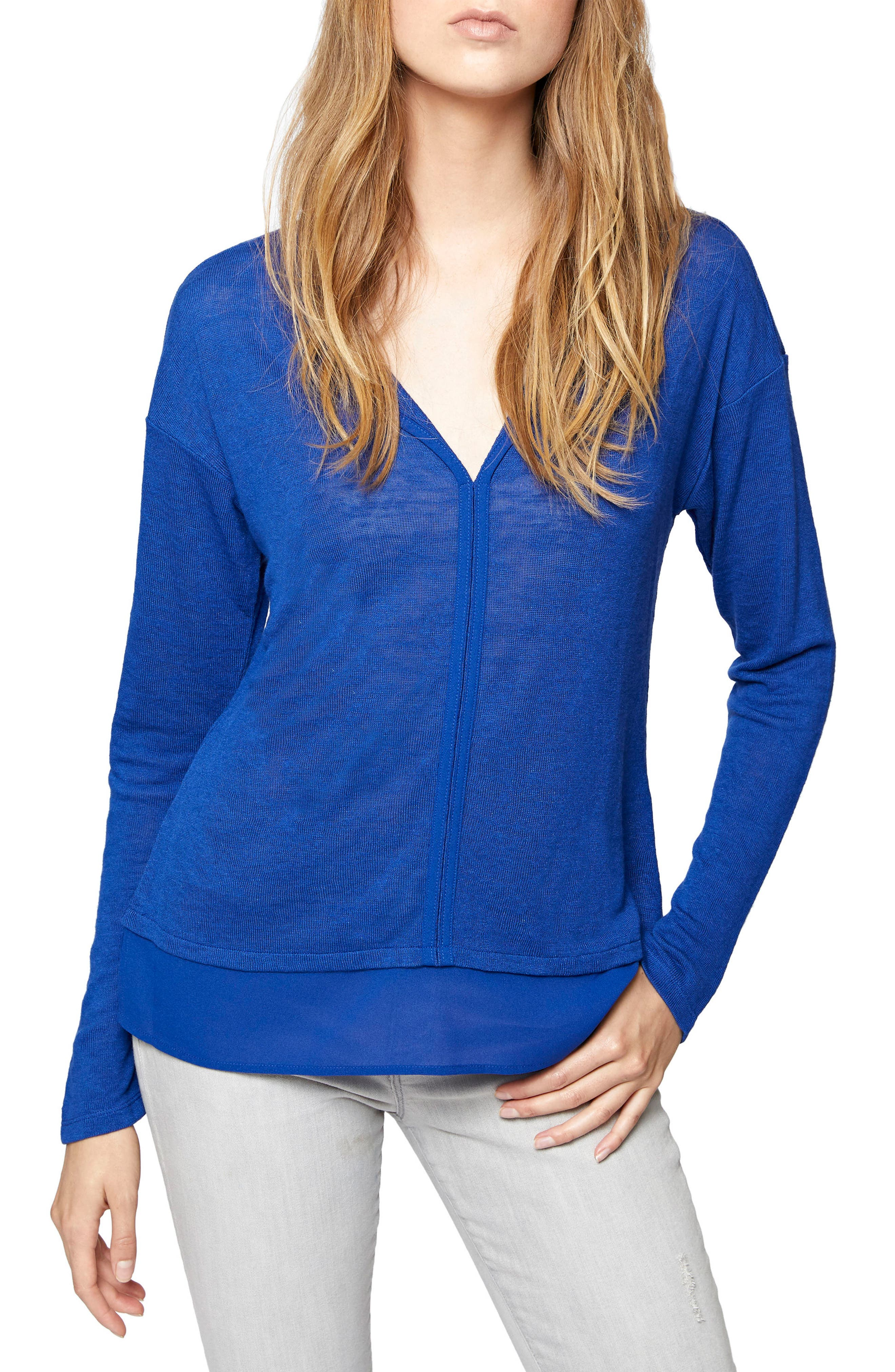 Sanctuary 'Hanna' Split Neck Knit Top (Regular & Petite)