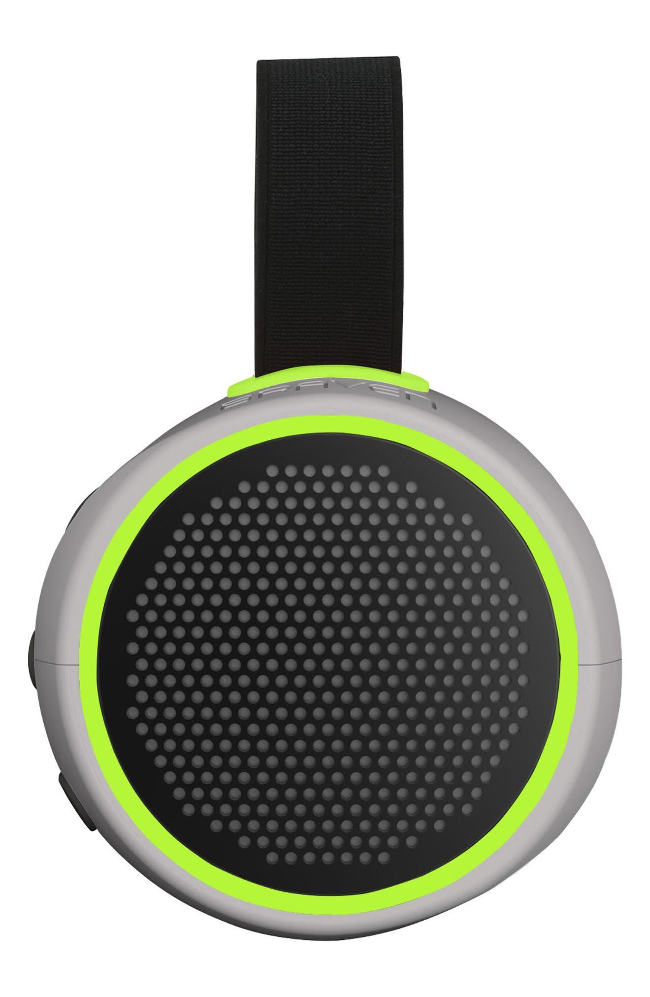 105 Portable Waterproof Bluetooth Speaker,                             Main thumbnail 1, color,                             Silver/ Green