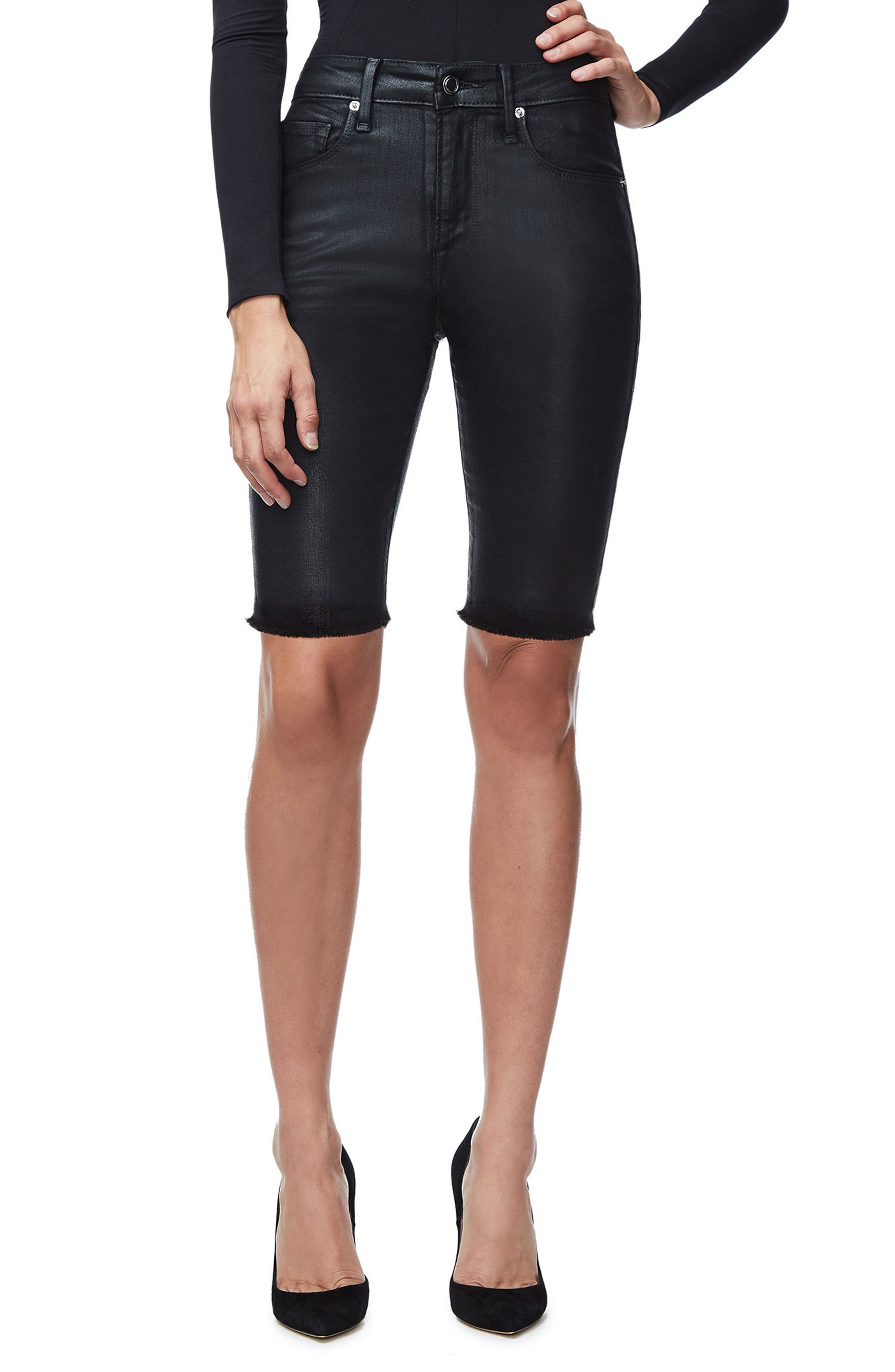 Main Image - Good American The Waxed Bermuda High Waist Shorts (Black 014) (Extended Sizes)
