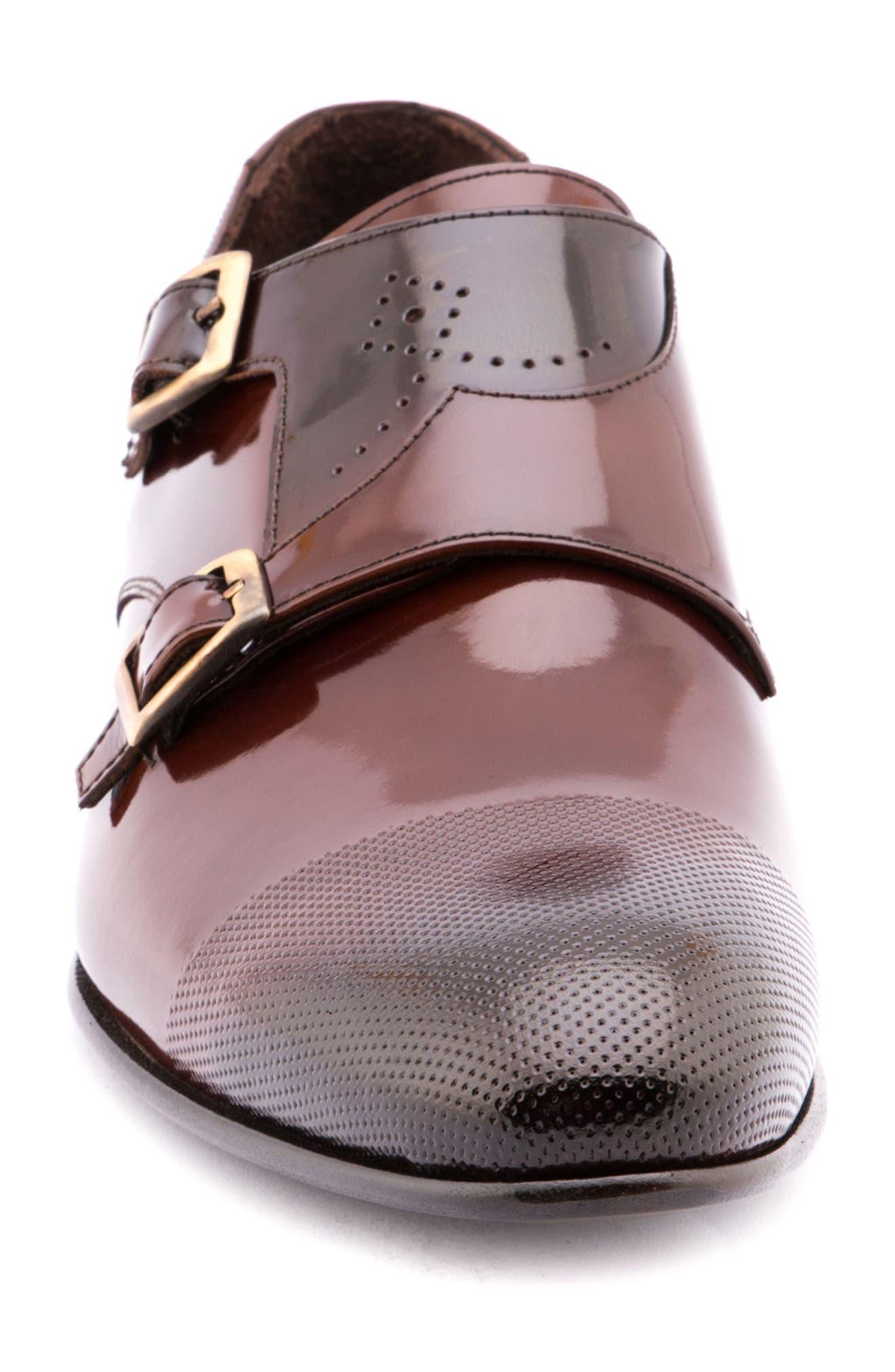 Martin Double Monk Strap Shoe,                             Alternate thumbnail 4, color,                             Brown