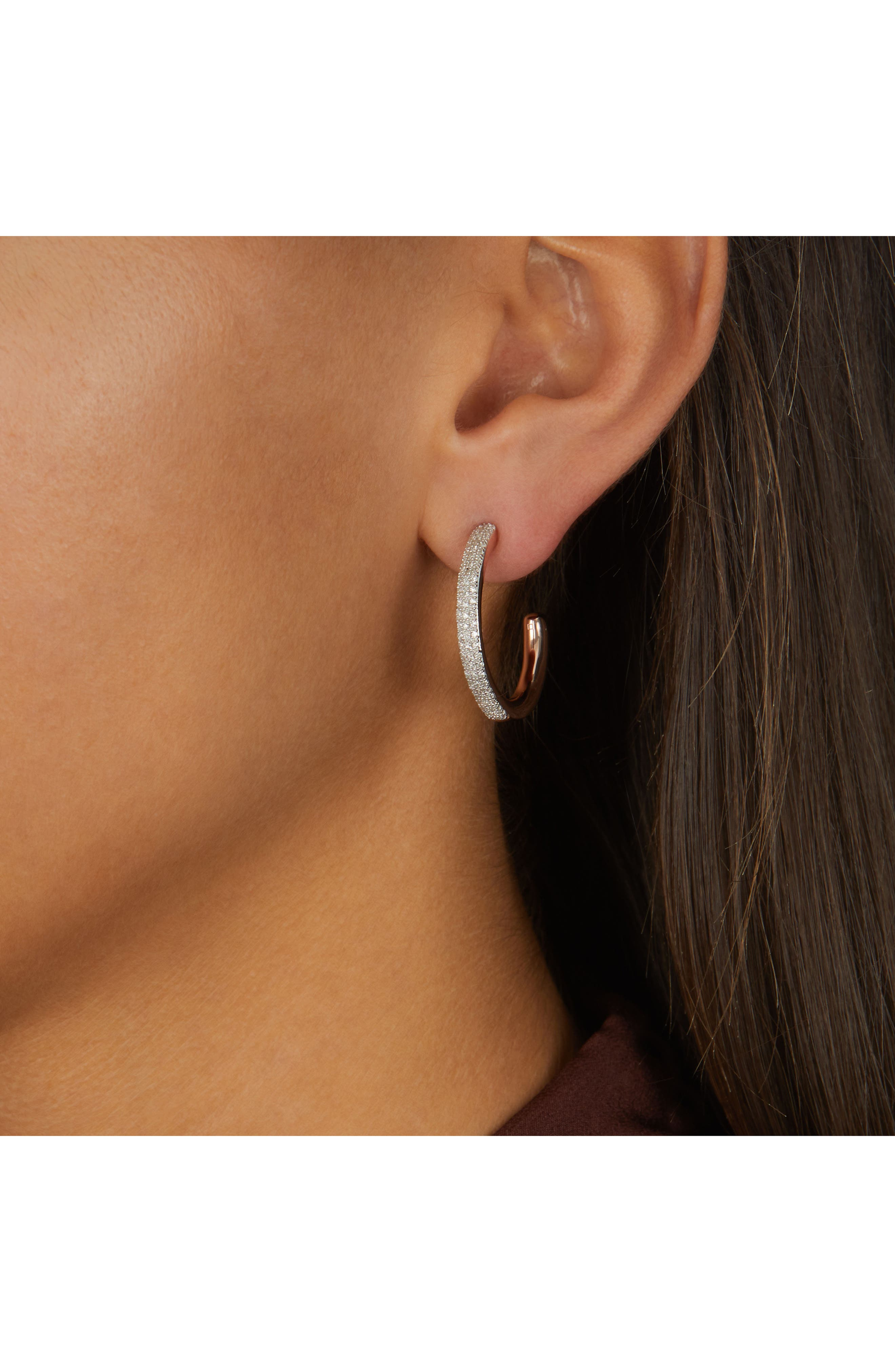 Fiji Large Diamond Hoop Earrings,                             Alternate thumbnail 2, color,                             Rose Gold