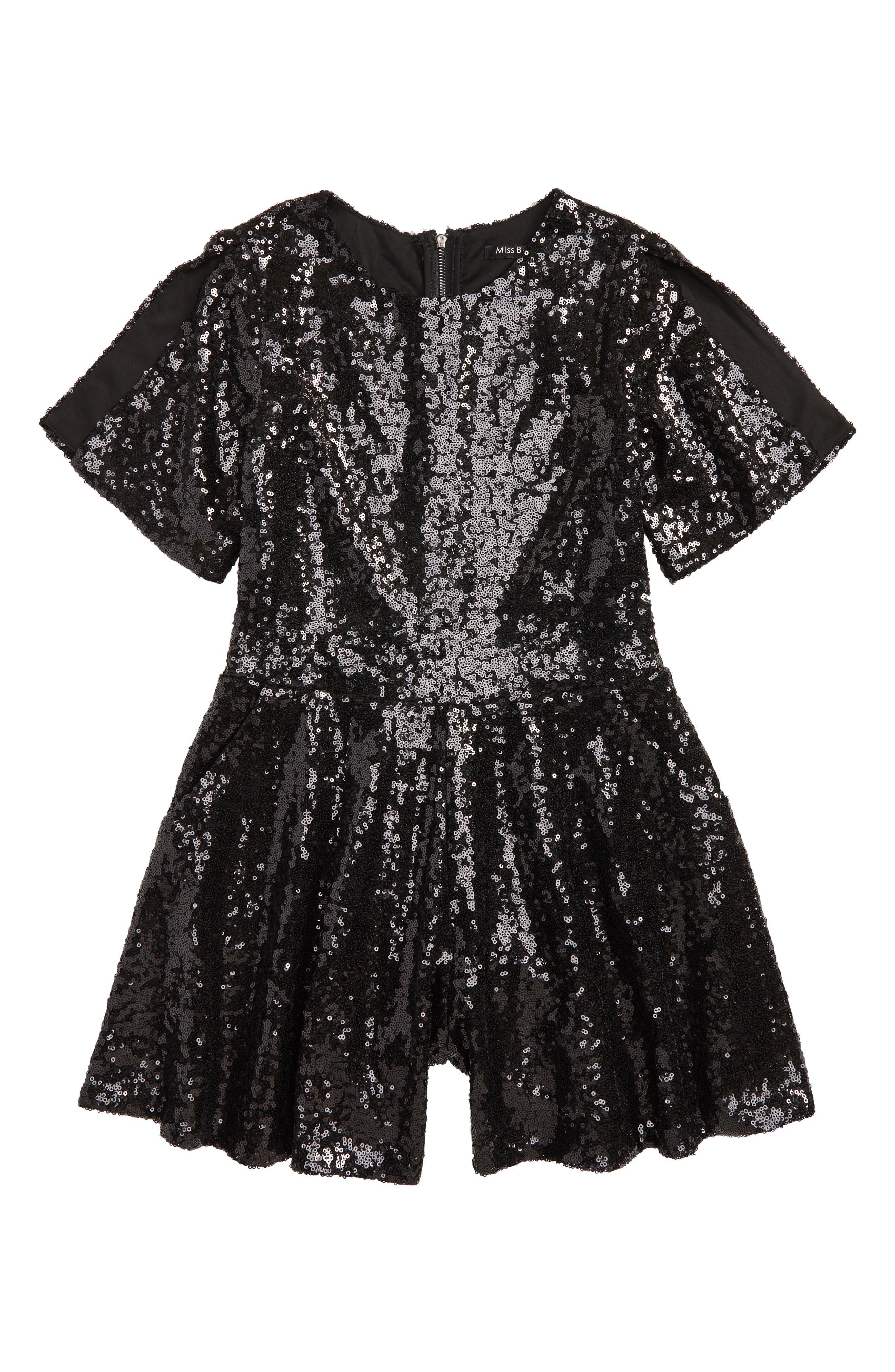 Bling Olivia Sequin Romper,                         Main,                         color, Black