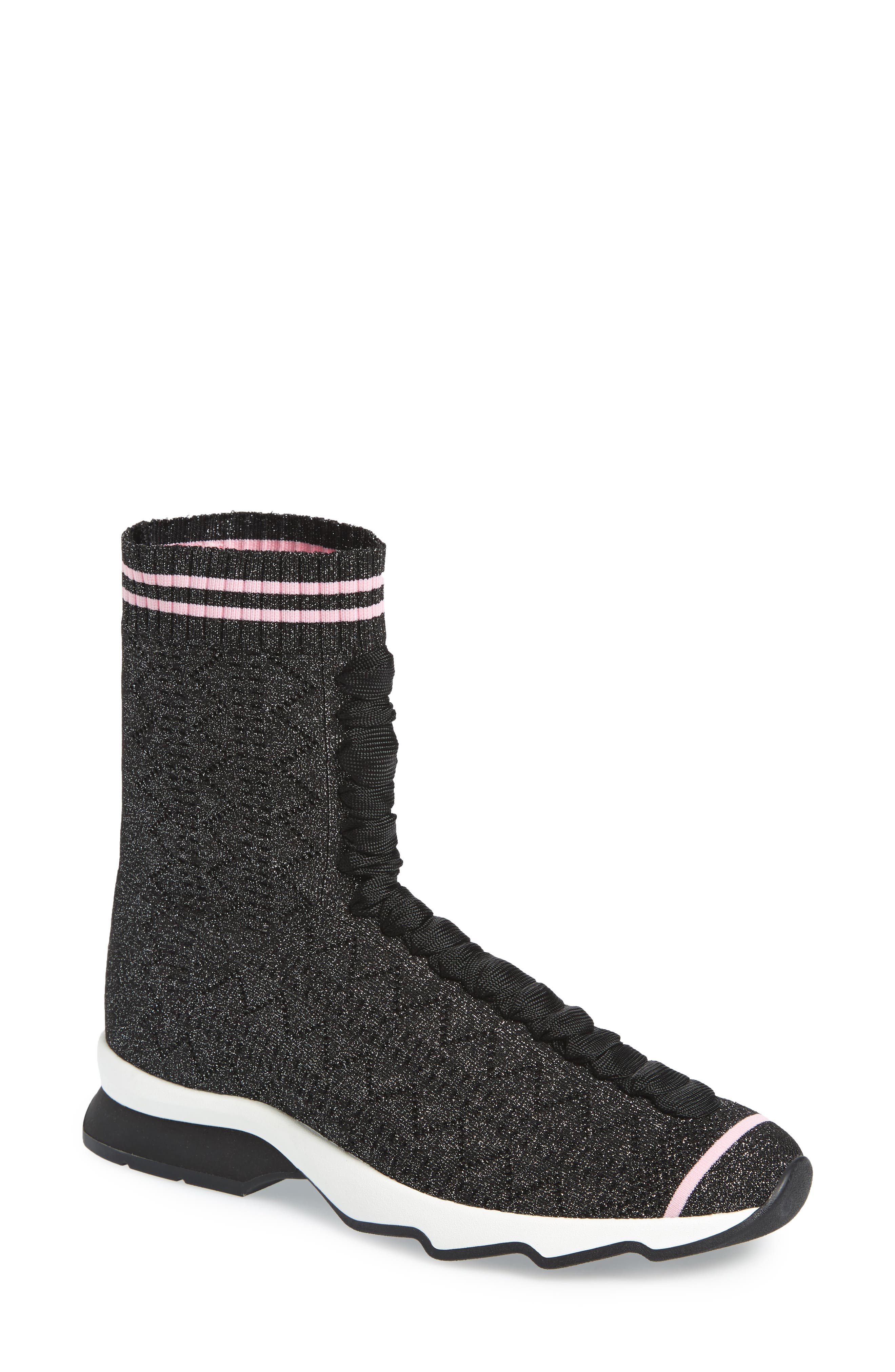 Fendi Rockoko High Top Sock Sneaker (Women)