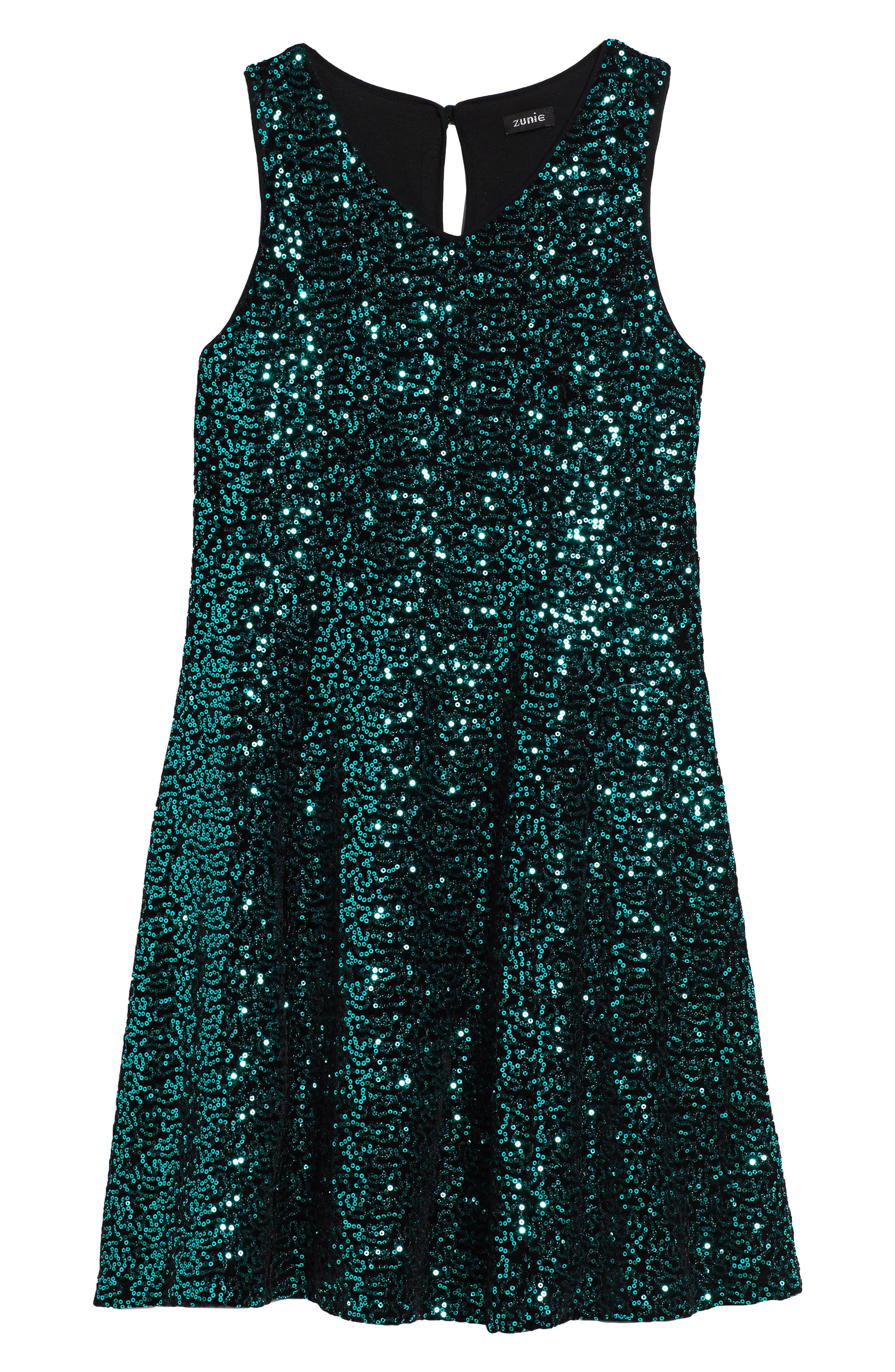 Zunie Sequin Velvet Skater Dress (Big Girls)