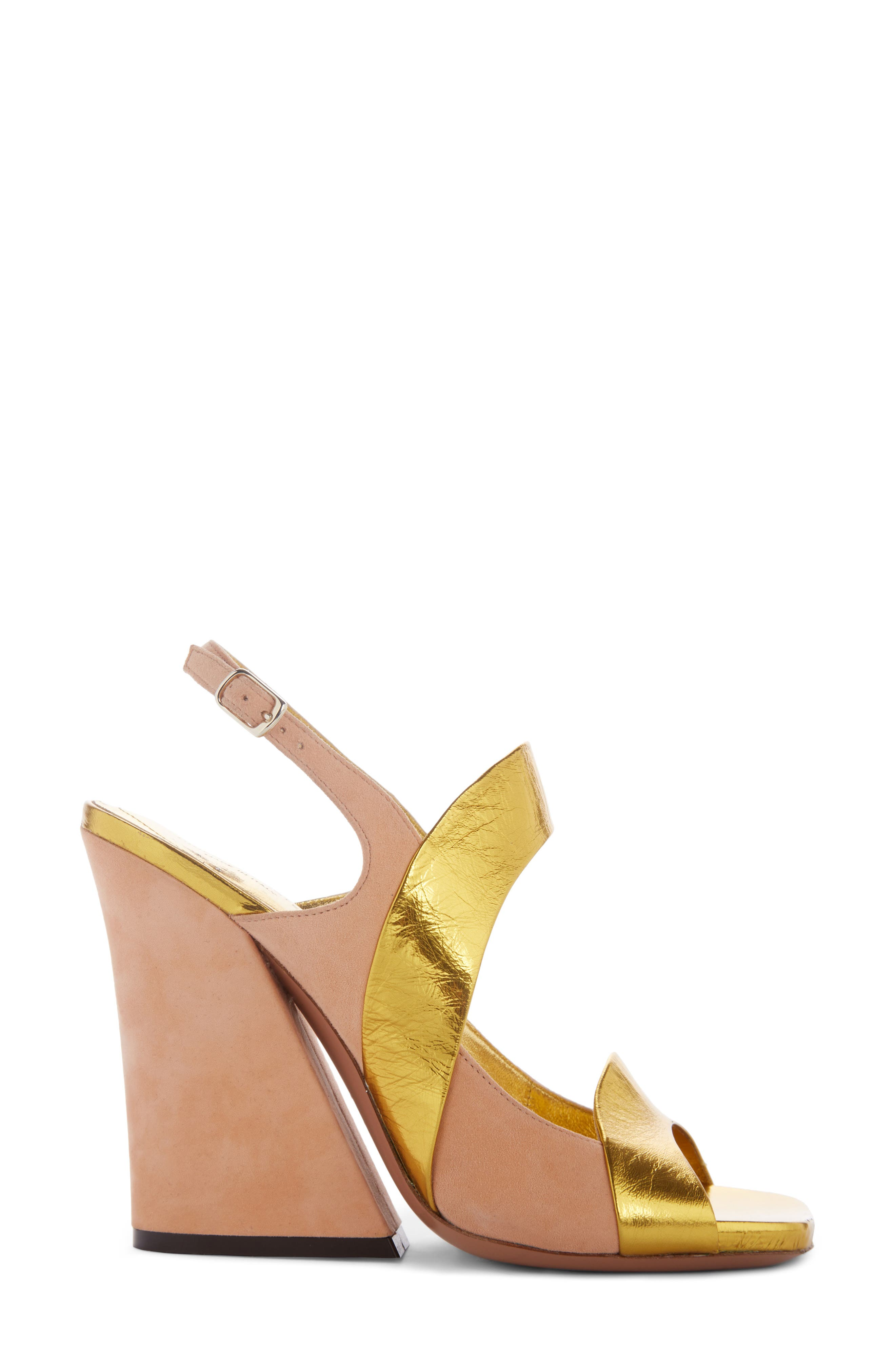 Block Heel Sandal,                             Alternate thumbnail 4, color,                             Gold