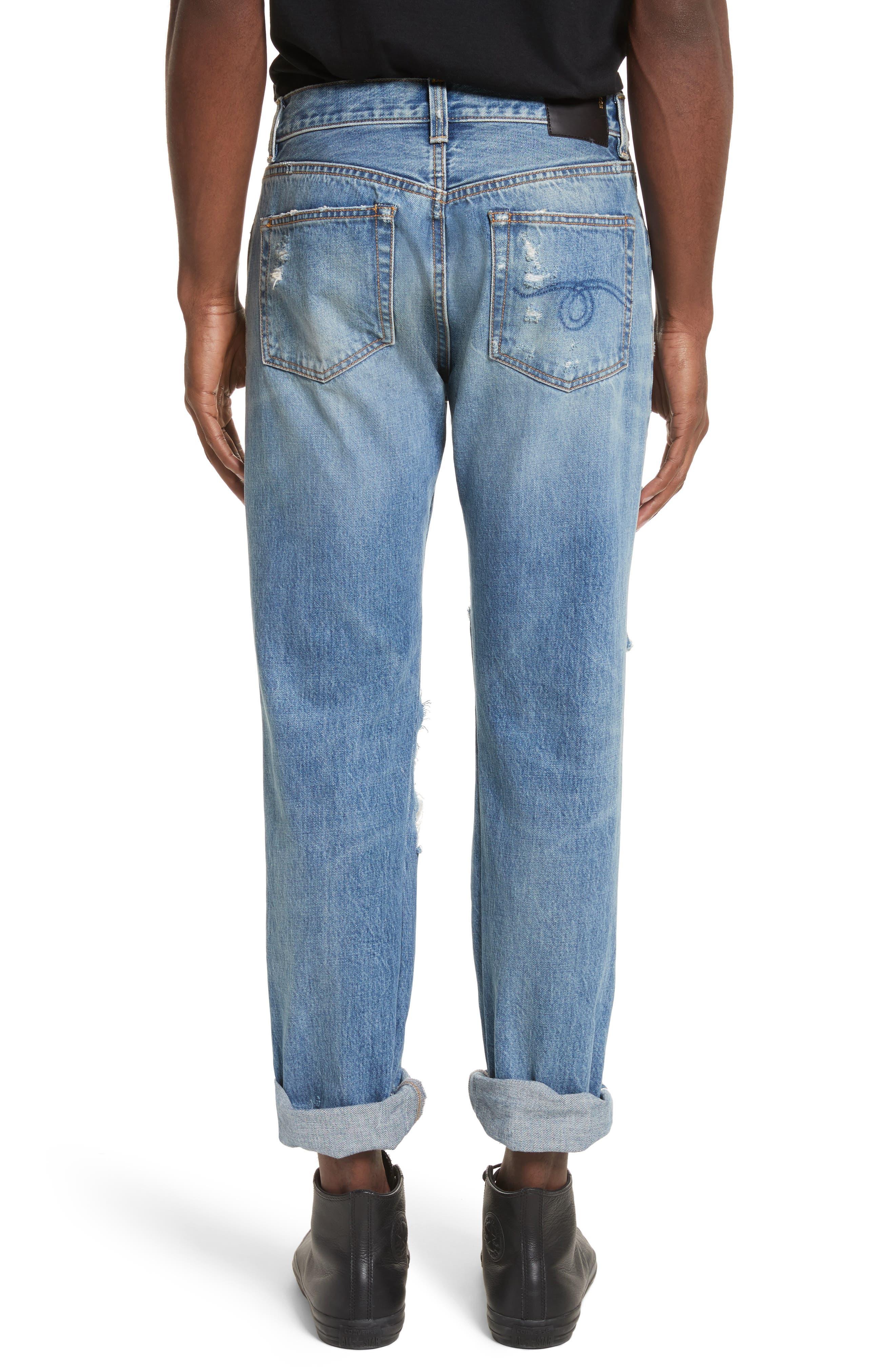 Sid Distressed Cutoff Straight Leg Jeans,                             Alternate thumbnail 2, color,                             Jasper Selvege W Rips