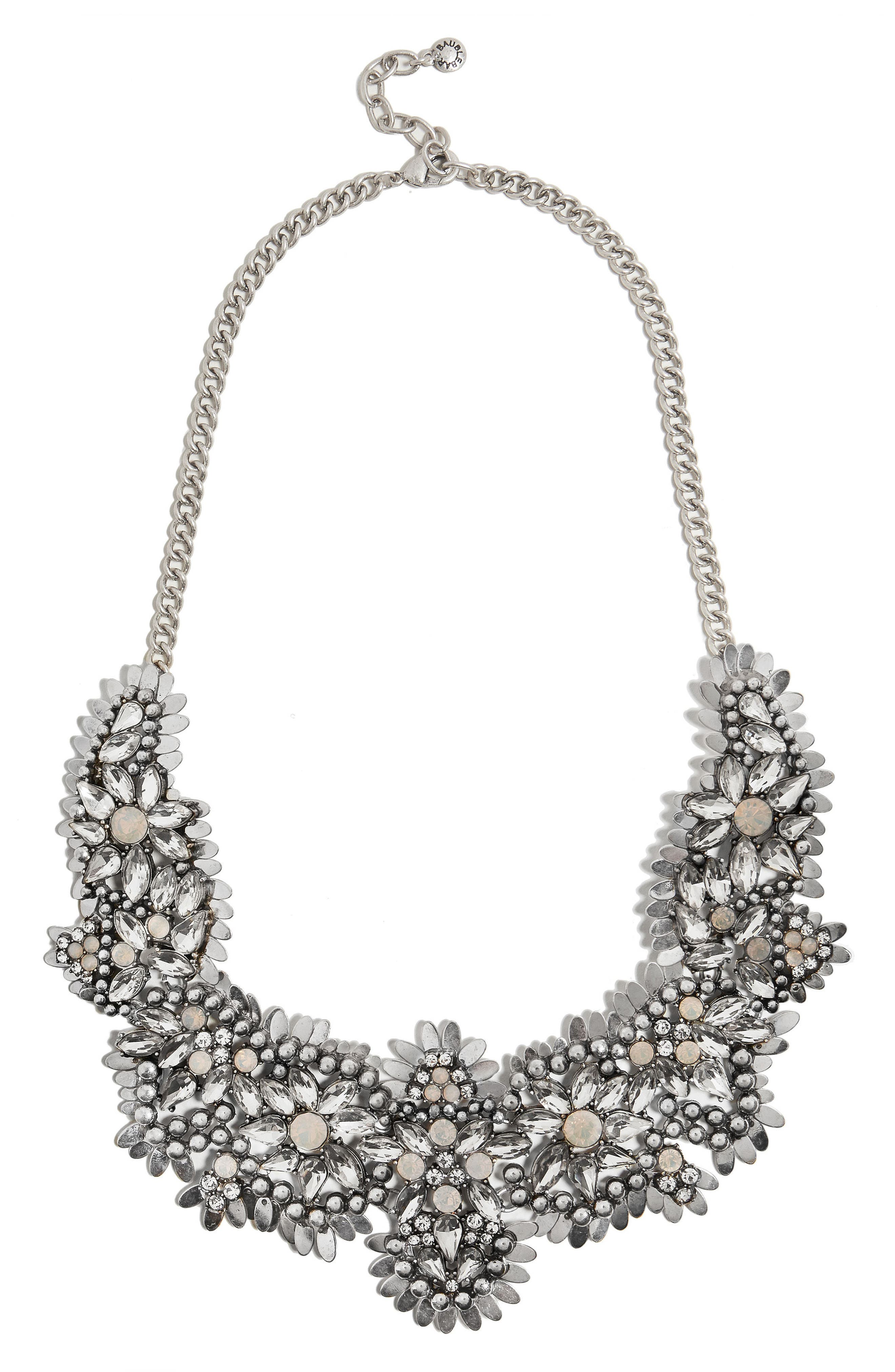 Ice Queen Crystal Statement Necklace,                         Main,                         color, Silver