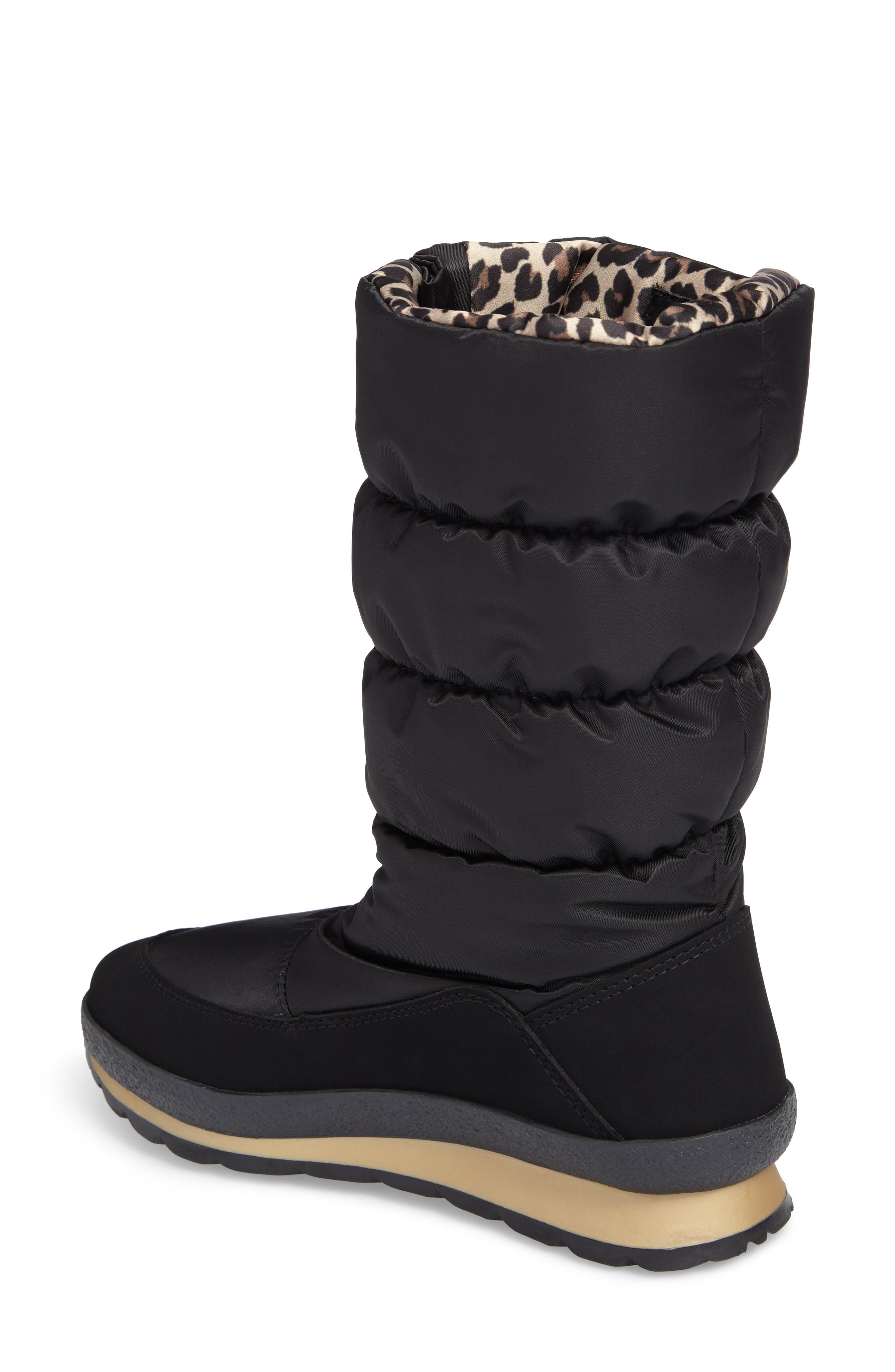 Cervina Waterproof Zip-Up Channel Quilted Boot,                             Alternate thumbnail 2, color,                             Black Leopard Nylon