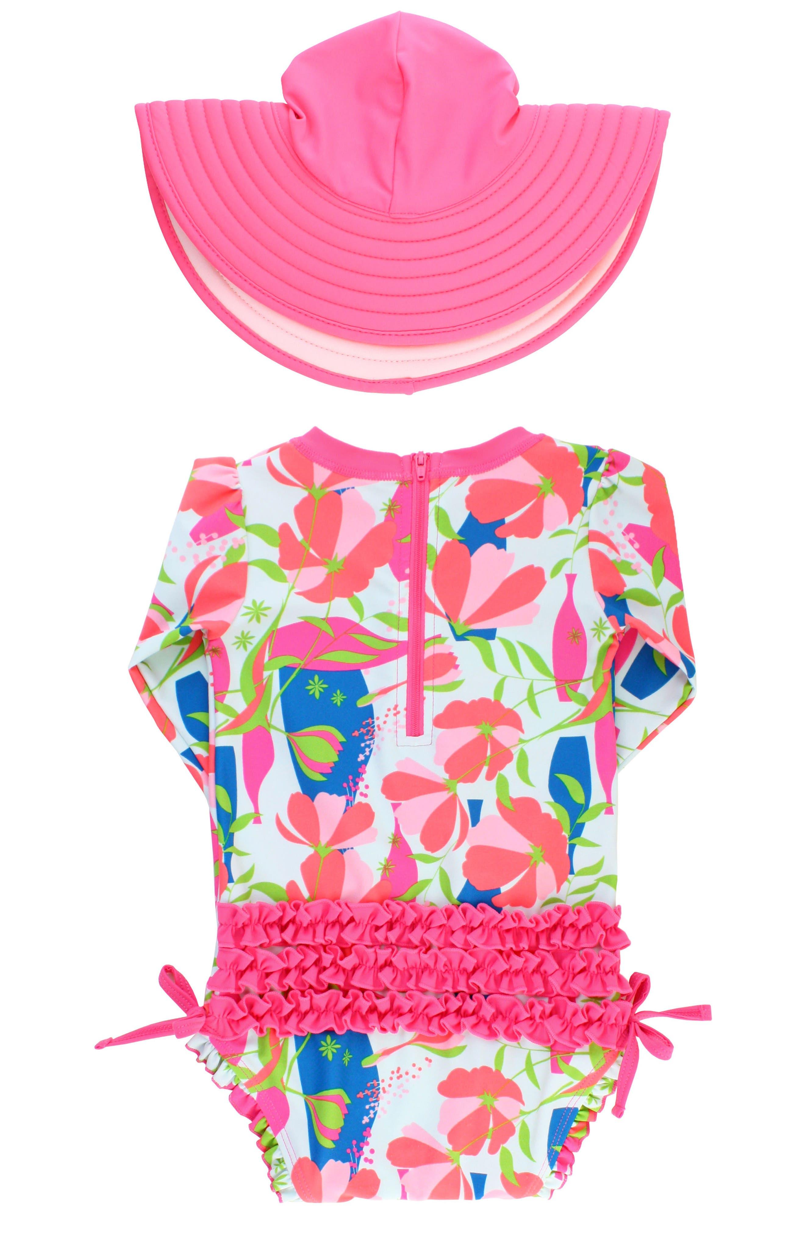Alternate Image 2  - Ruffle Butts Jeweled Stems One-Piece Rashguard Swimsuit & Sun Hat Set (Baby Girls)