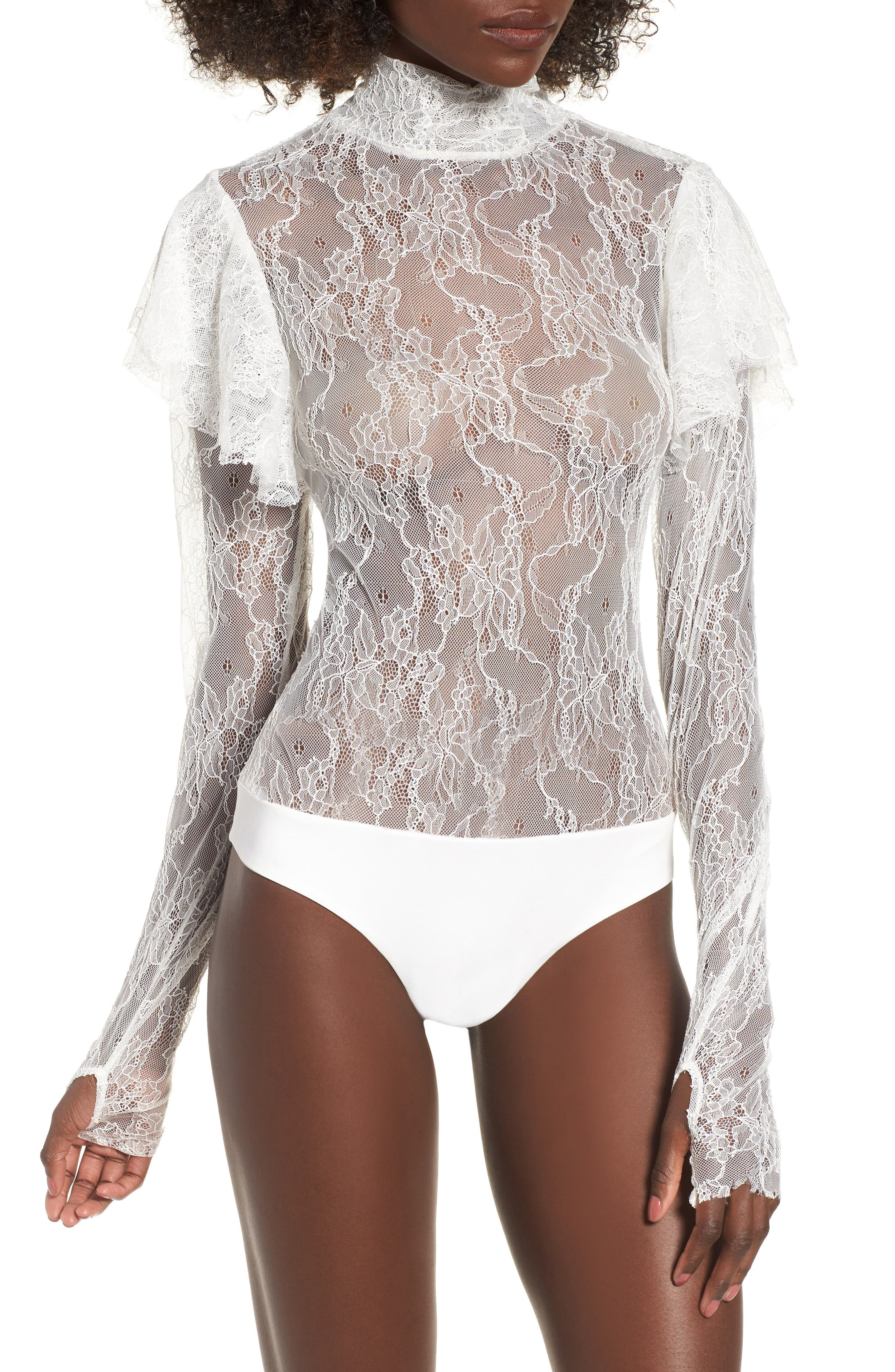Esme Ruffle Lace Bodysuit,                             Alternate thumbnail 4, color,                             Blanc
