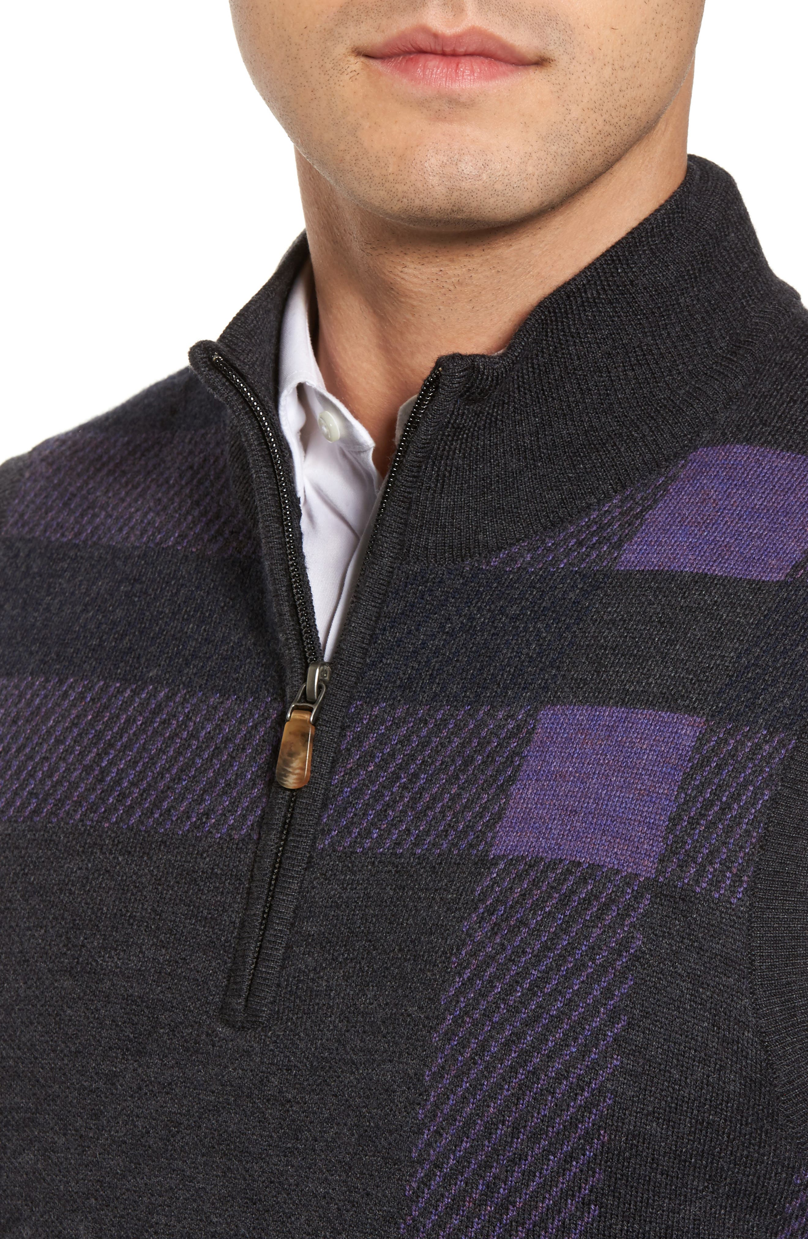 Oversize Plaid Wool Vest,                             Alternate thumbnail 4, color,                             Heather Grey
