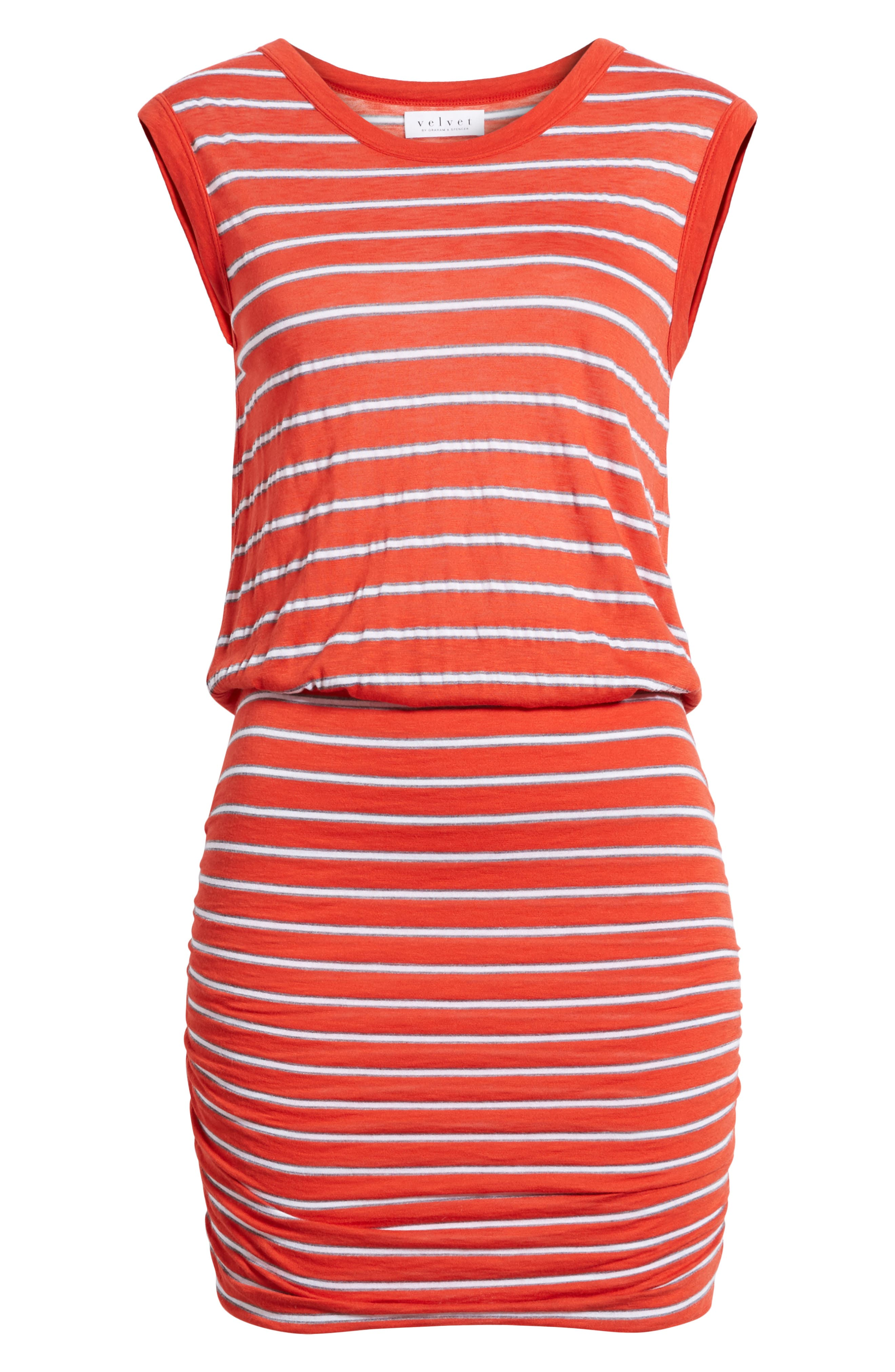 Stripe Ruched Dress,                             Alternate thumbnail 6, color,                             Rouge