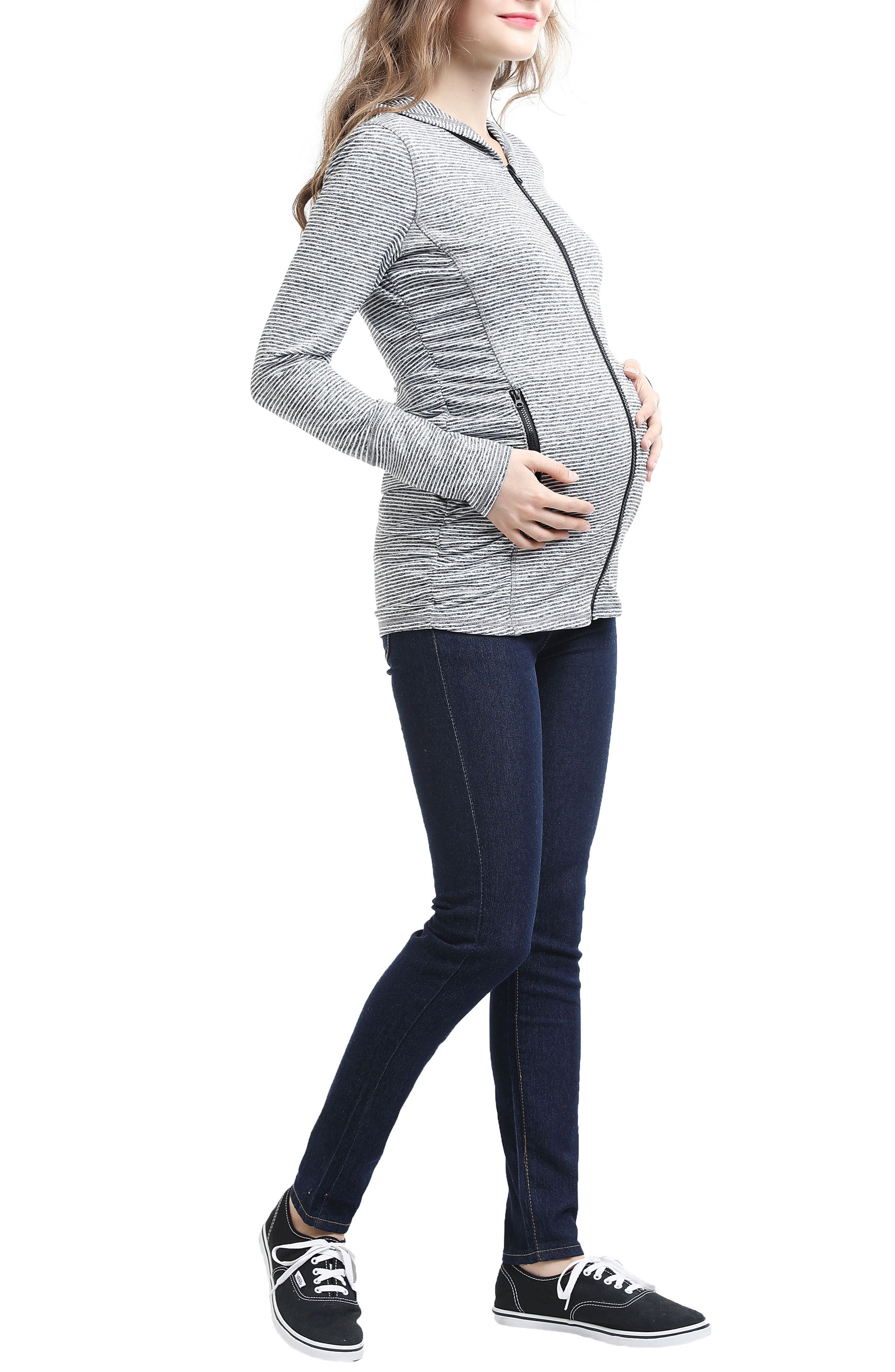 Kimi & Kai Haven Stripe Ruched Maternity Hoodie,                             Alternate thumbnail 5, color,                             Black